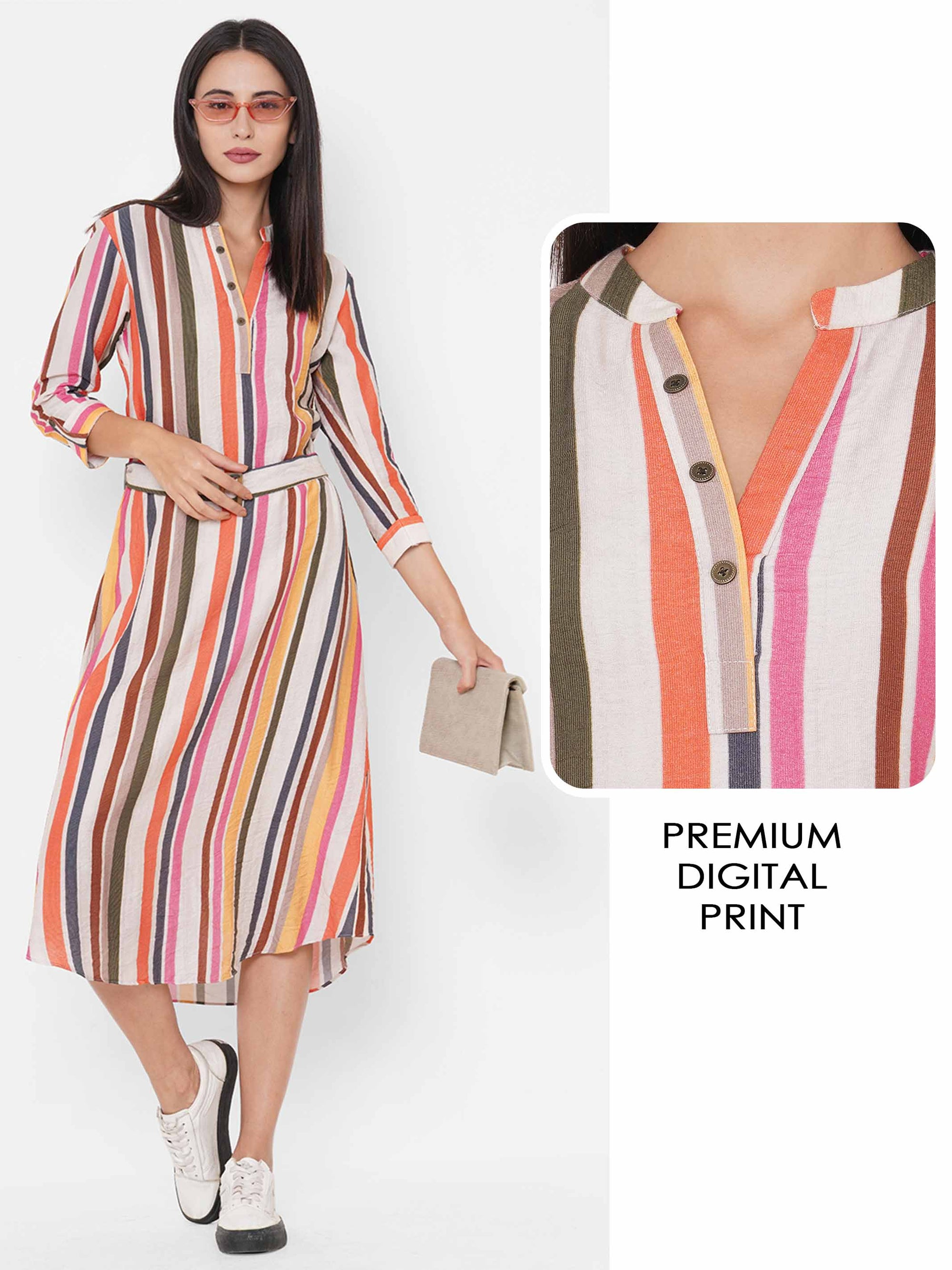 Colorful Stripes Printed A-Line Maxi Dress with fabric Belt - Multi
