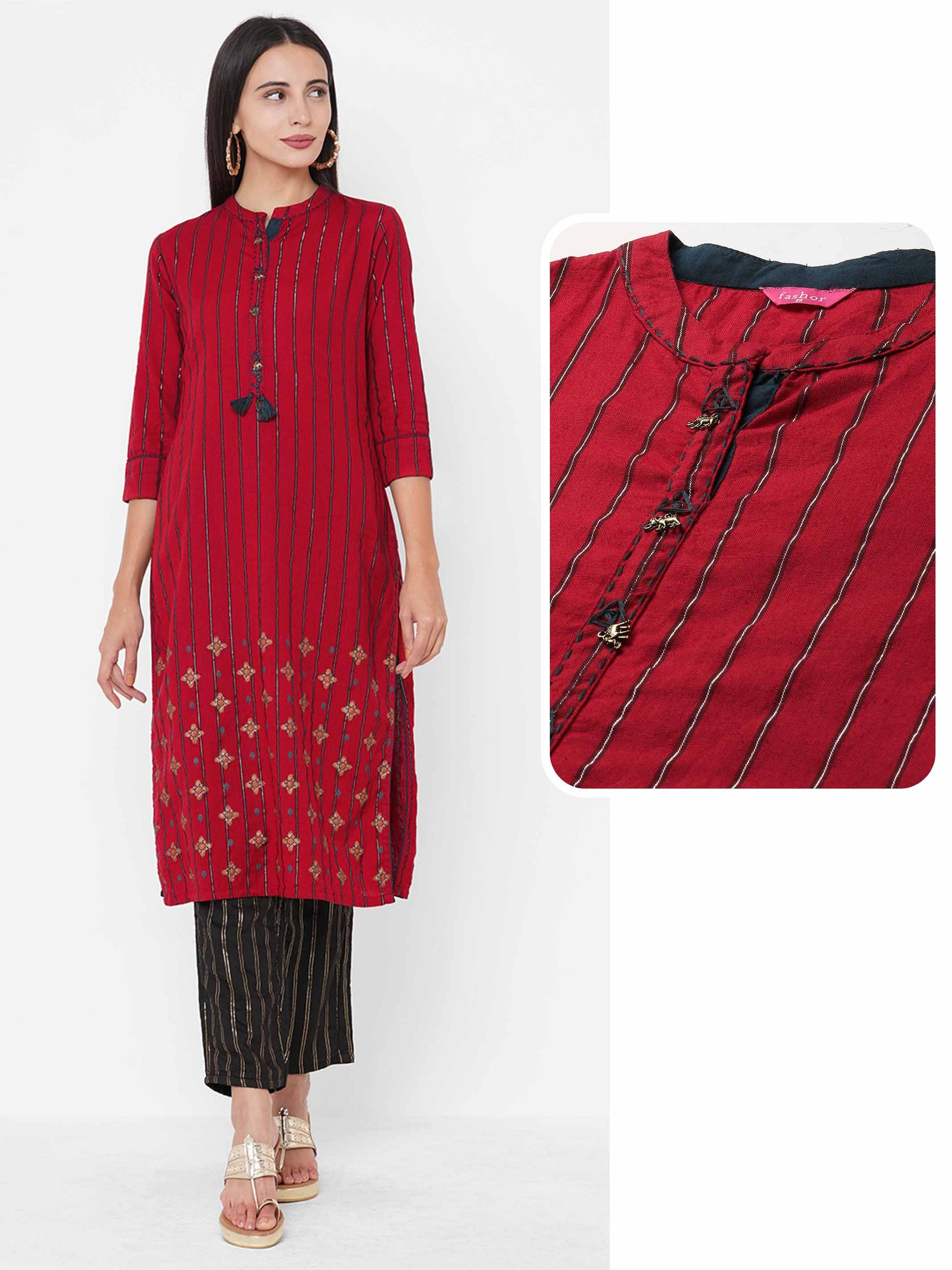 Woven Striped & Foil Printed Straight Kurta - Red