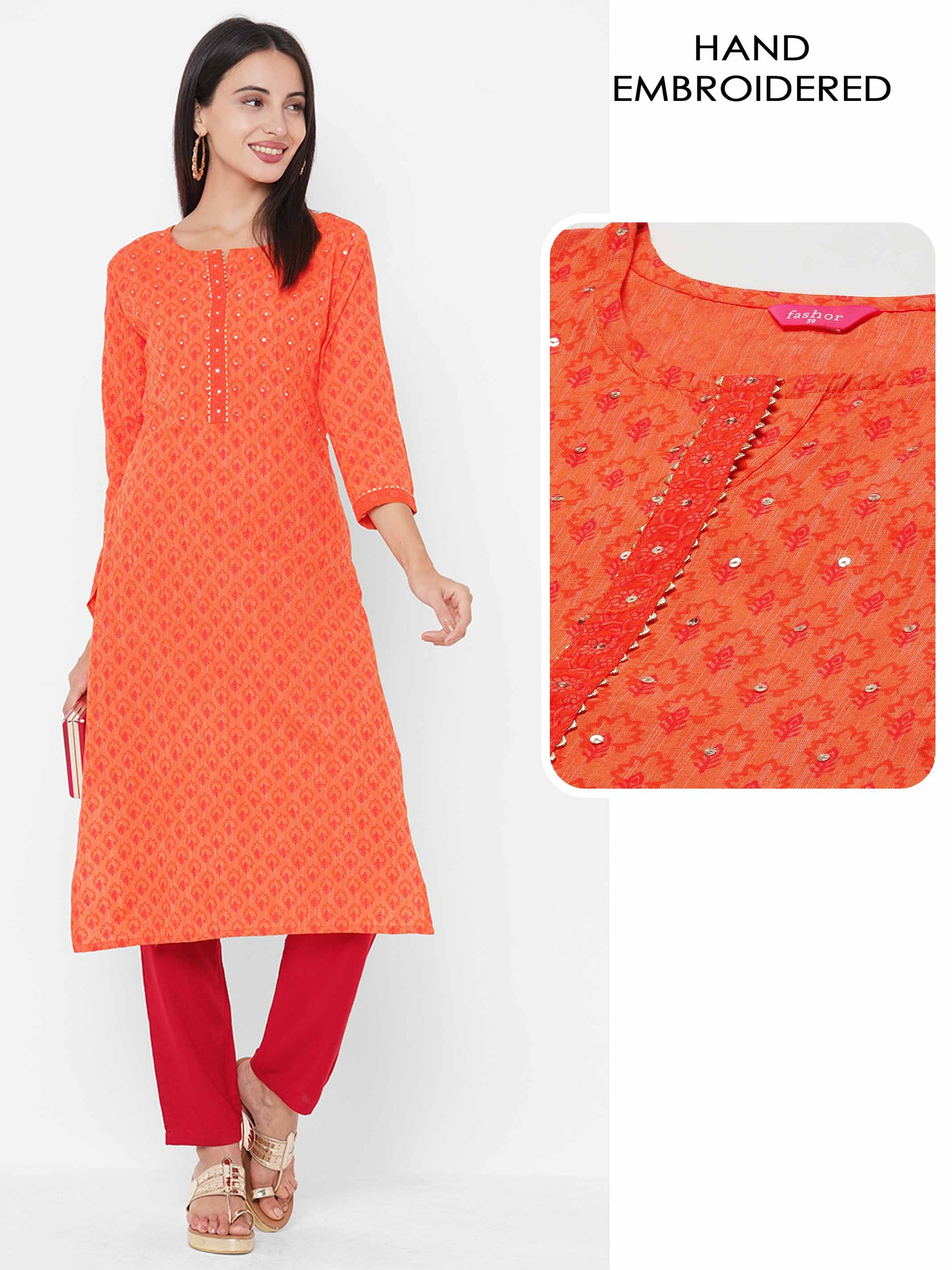 Flora Printed & Minimal Hand Embroidered Kurta - Orange