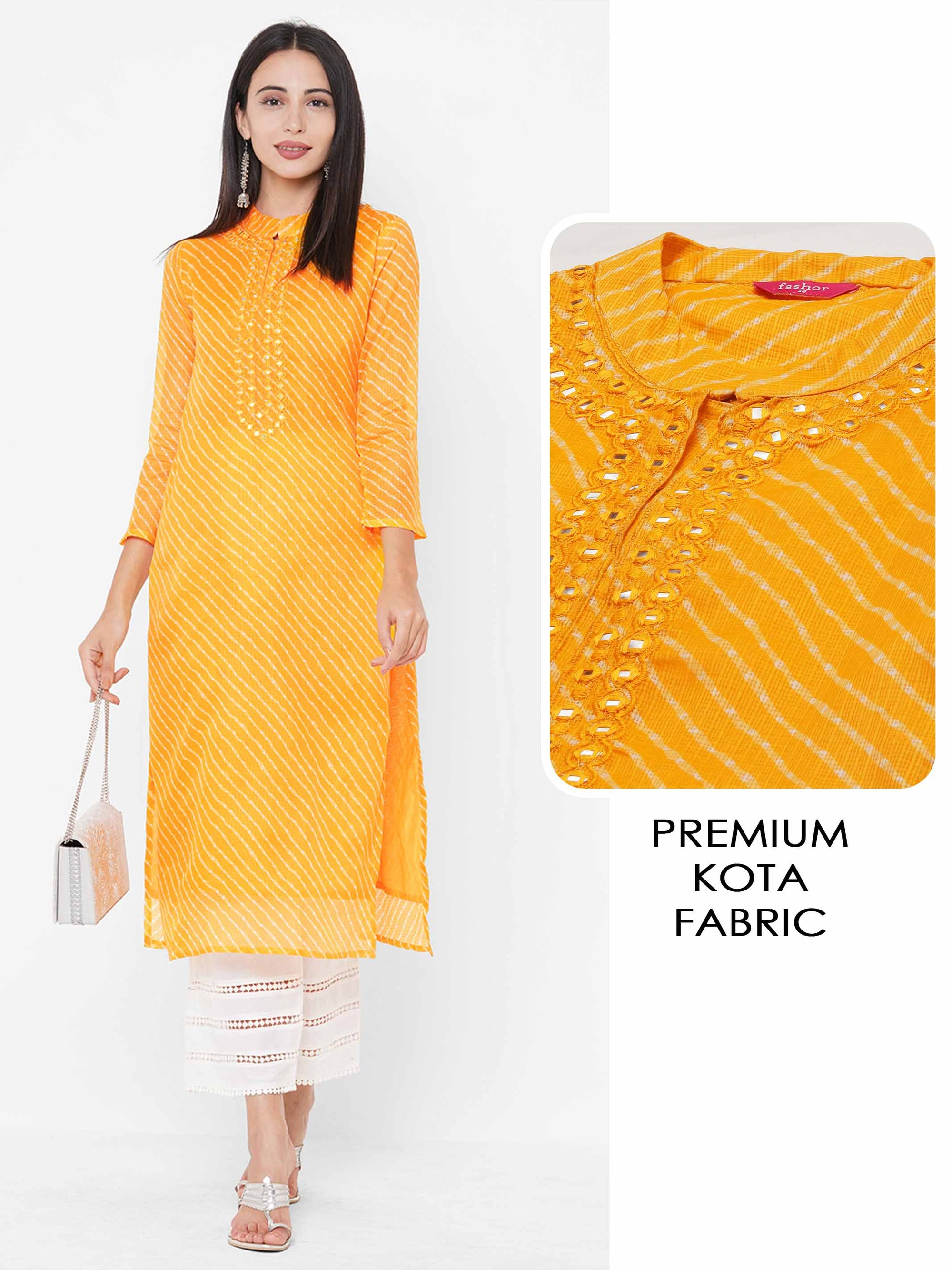 Lehariya Printed & Mirror Embroidered Straight Kurta - Yellow