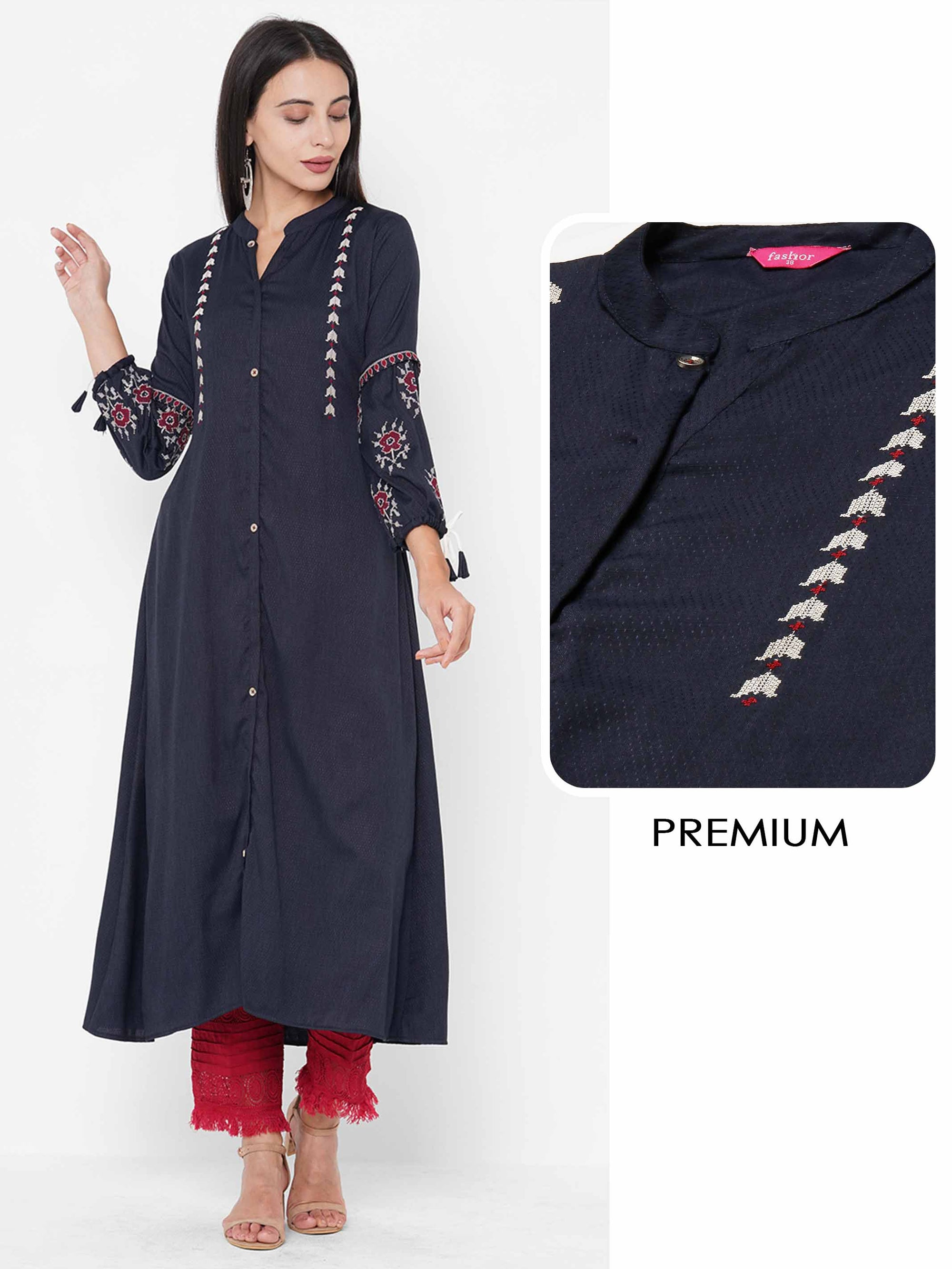 Patola Embroidered & Woven Textured A-Line Kurta - Navy Blue