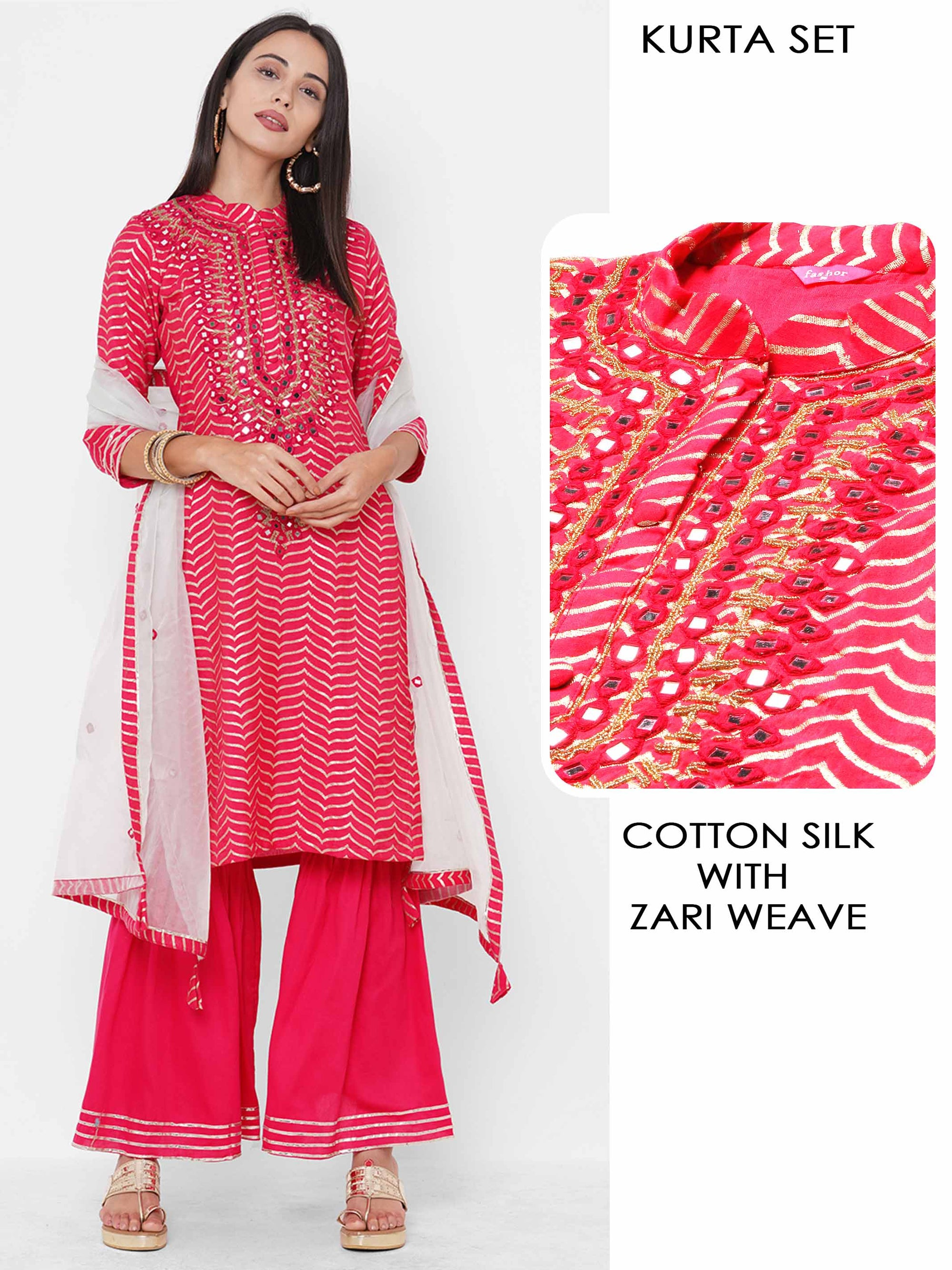 Chevron Woven & Mirror Hand Embroidered Kurta with Solid Sharara & Contrast Dupatta - Ruby Pink