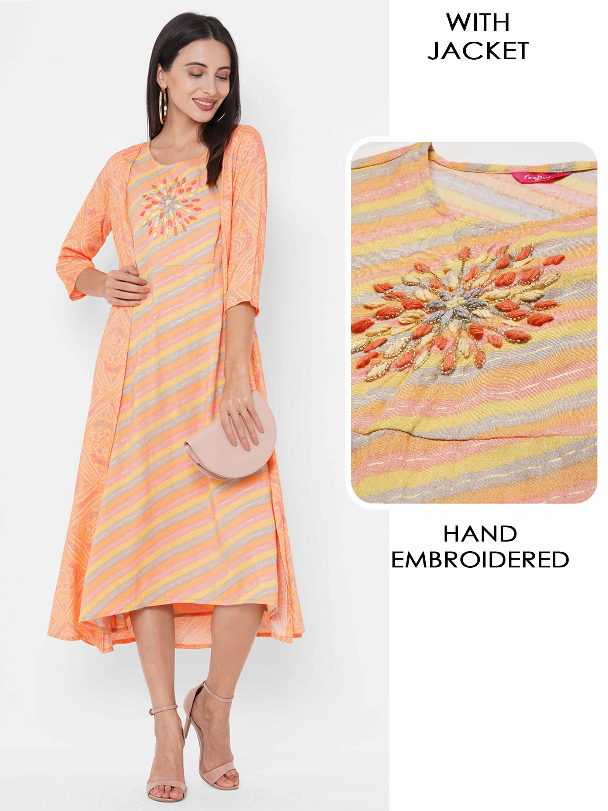 Hand Embroidered & Colorful Printed A-Line Kurta with Bandhani Printed A-Line Jacket - Orange