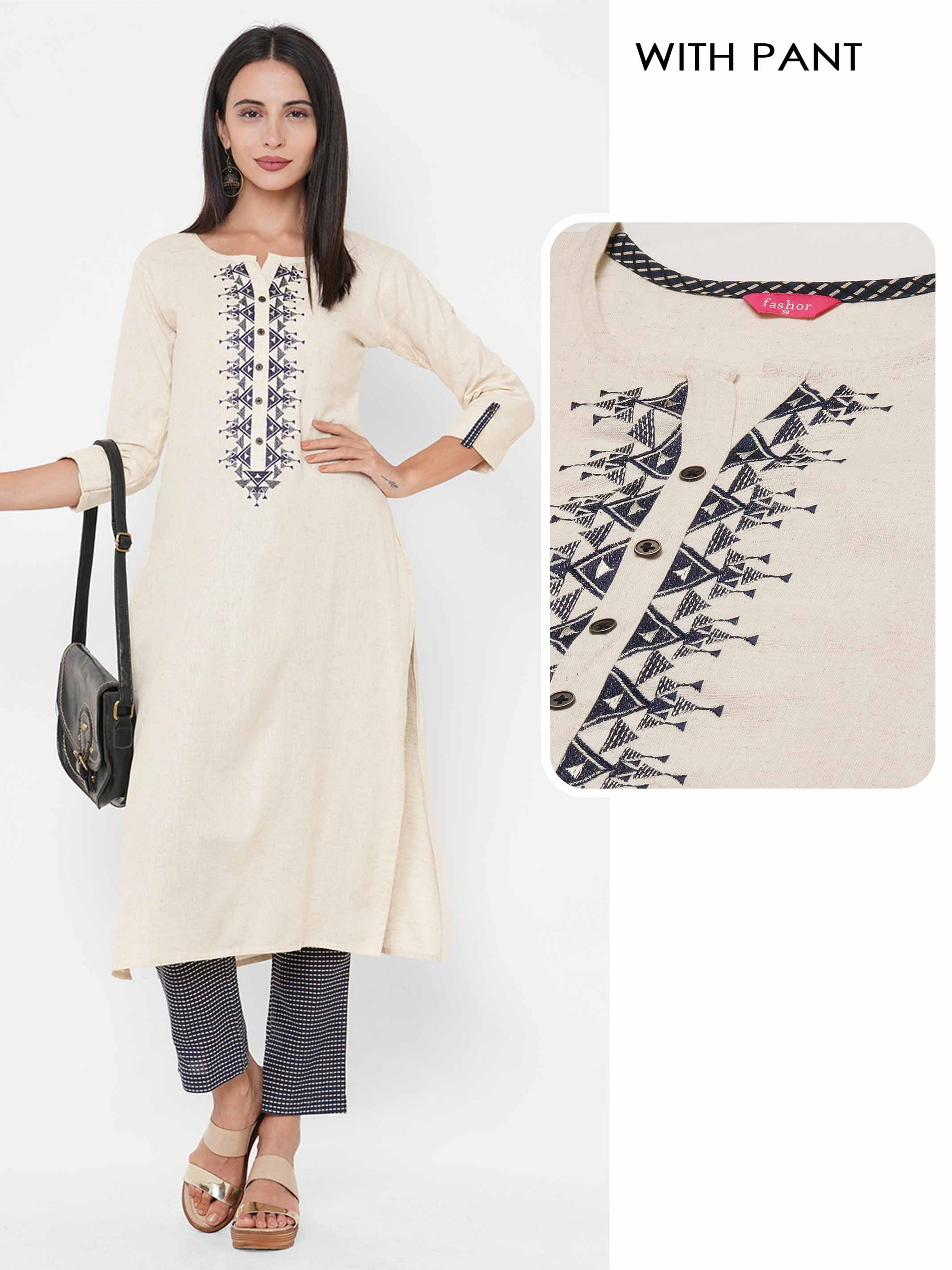Tribal Embroidered Handloom Kurta with Dense Printed Pant - Off white