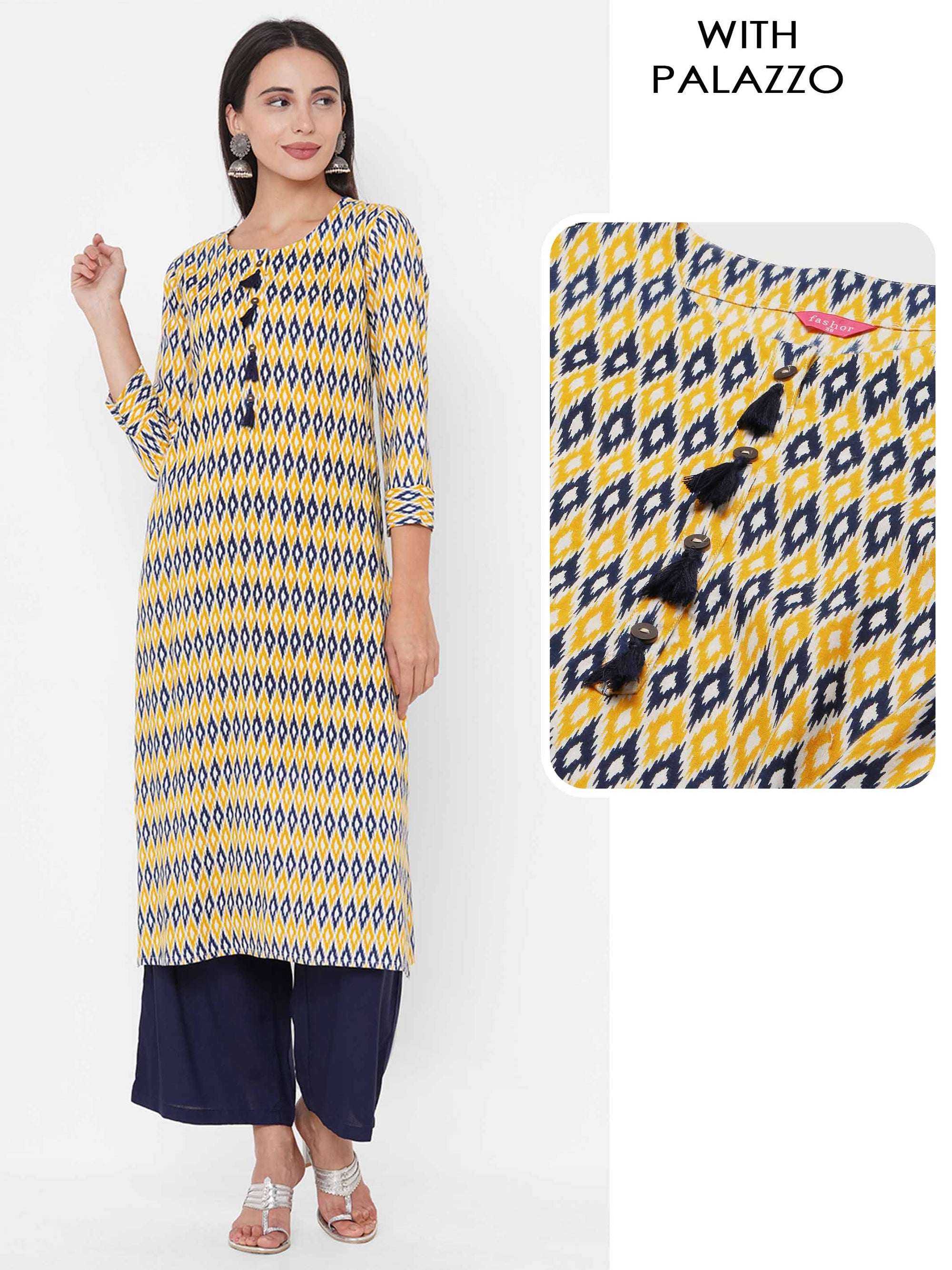 Ikat Printed Straight Kurta with Solid Contrast Palazzo - Multi