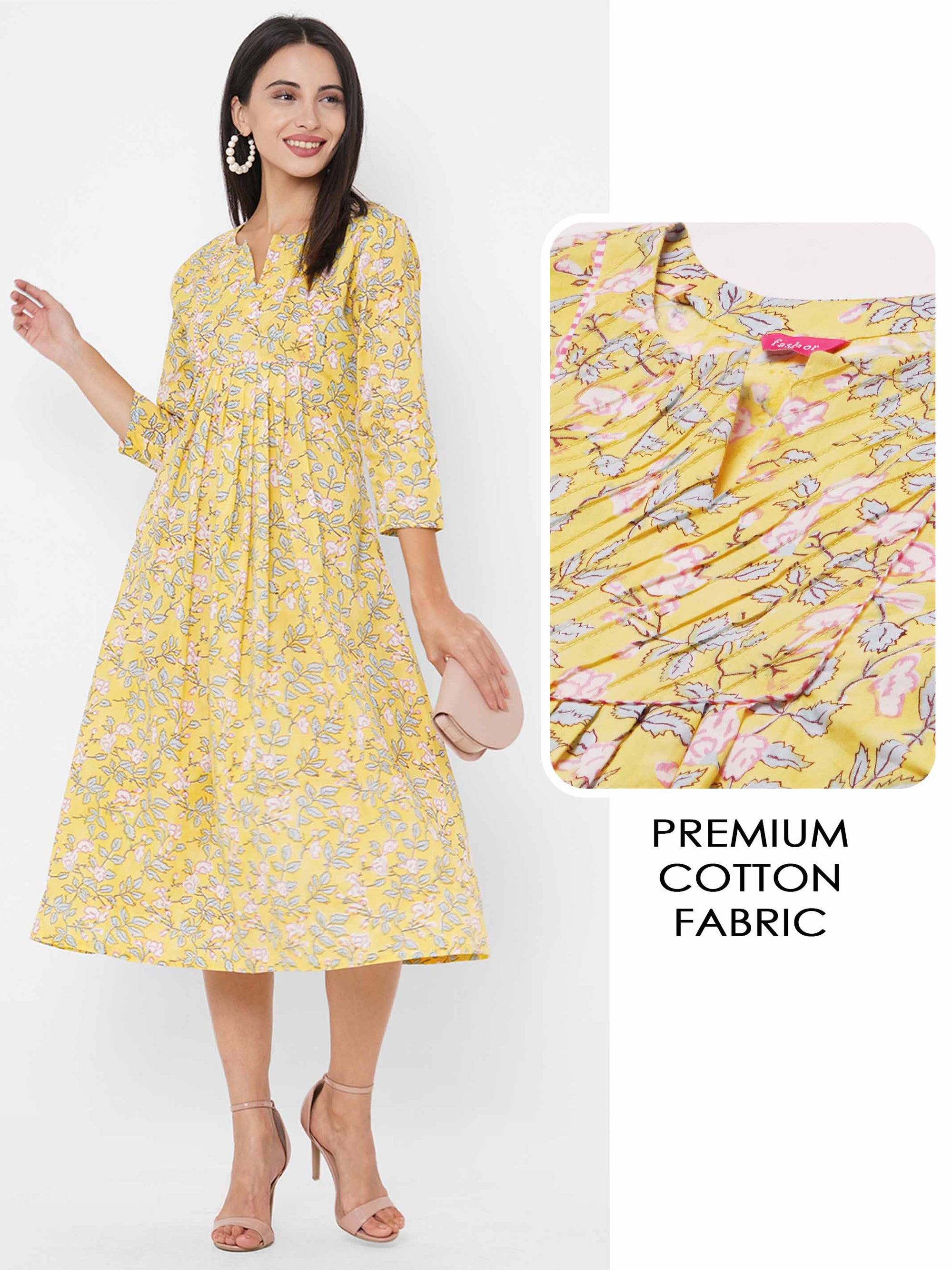 Floral Dense Printed Gathered Maxi Dress - Yellow