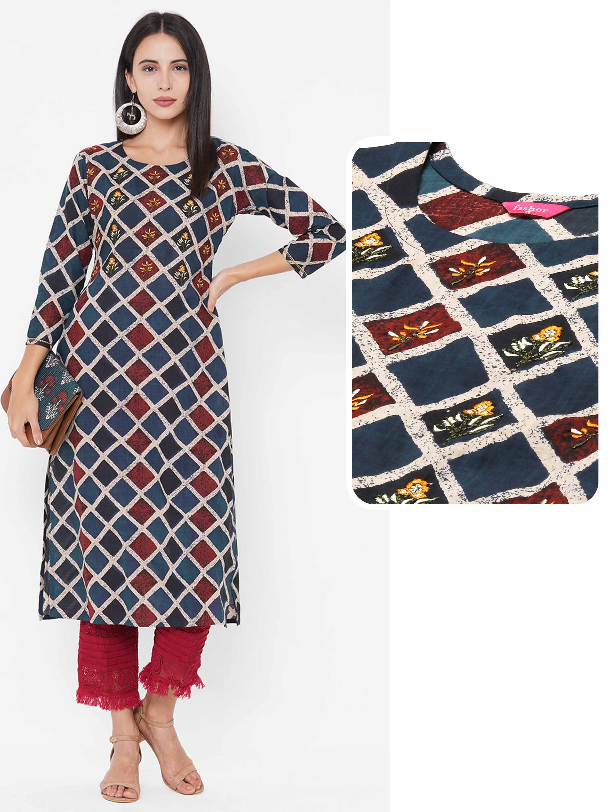 Ethnic Geometric Printed Straight Kurta - Blue