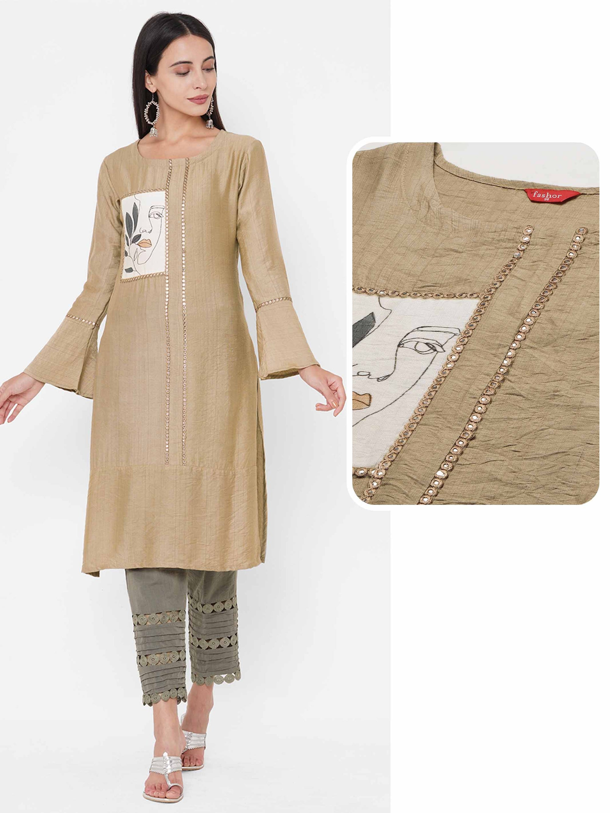 Floral & Distressed Mix Printed Straight Kurta - Beige