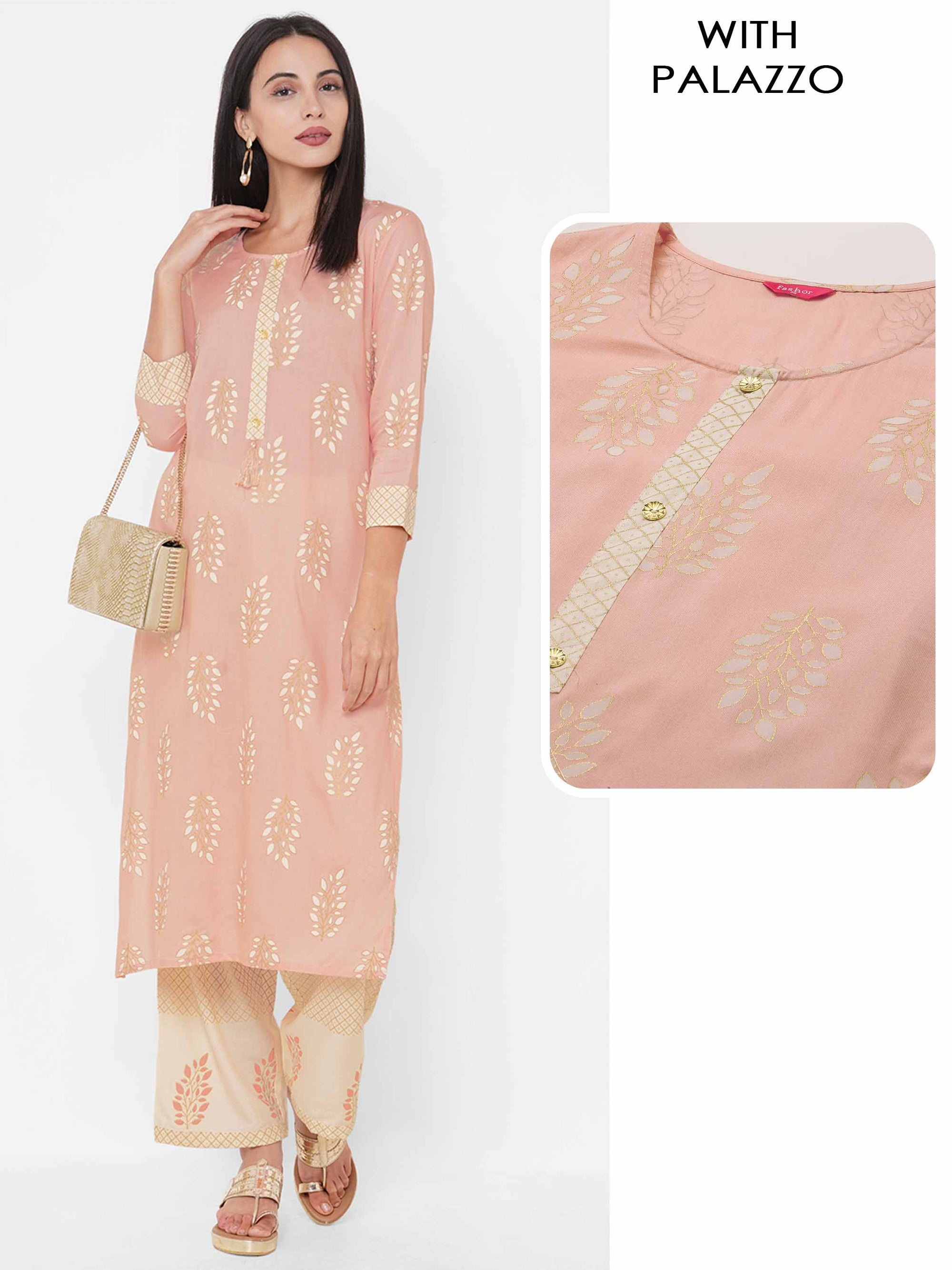Ikat Printed Straight Kurta with Solid Contrast Palazzo - Pink