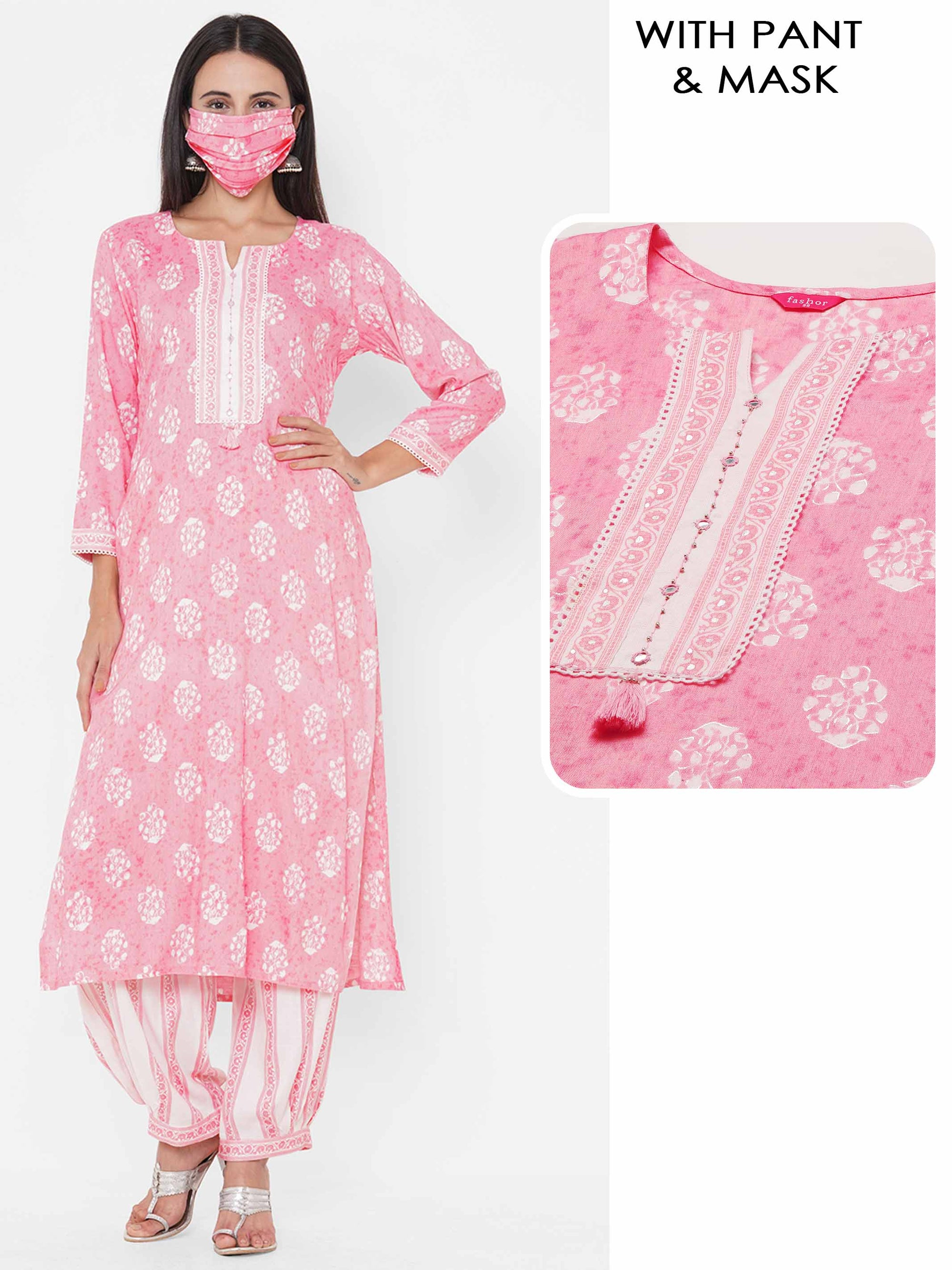 Floral Printed Straight Kurta with Printed Patiala Pant & 2-Ply Mask - Pink