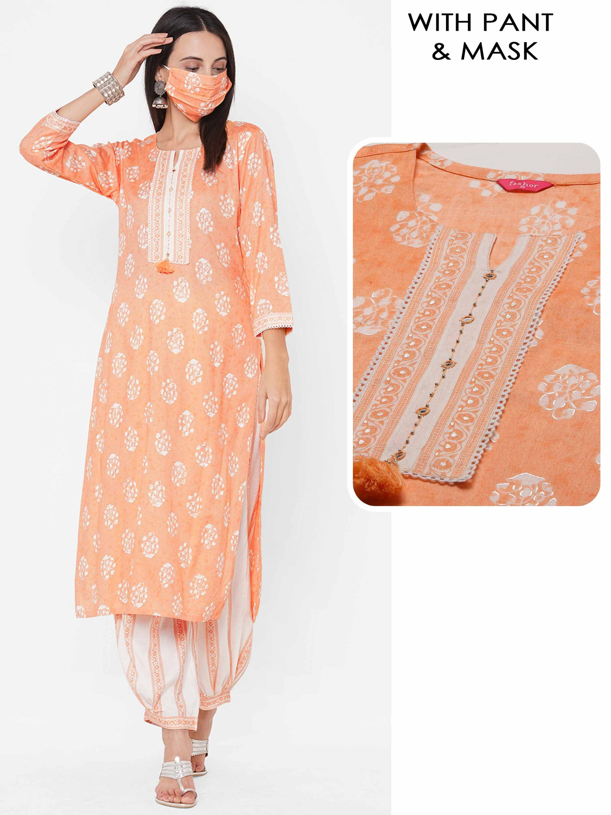 Floral Printed Straight Kurta with Printed Patiala Pant & 2-Ply Mask - Peach