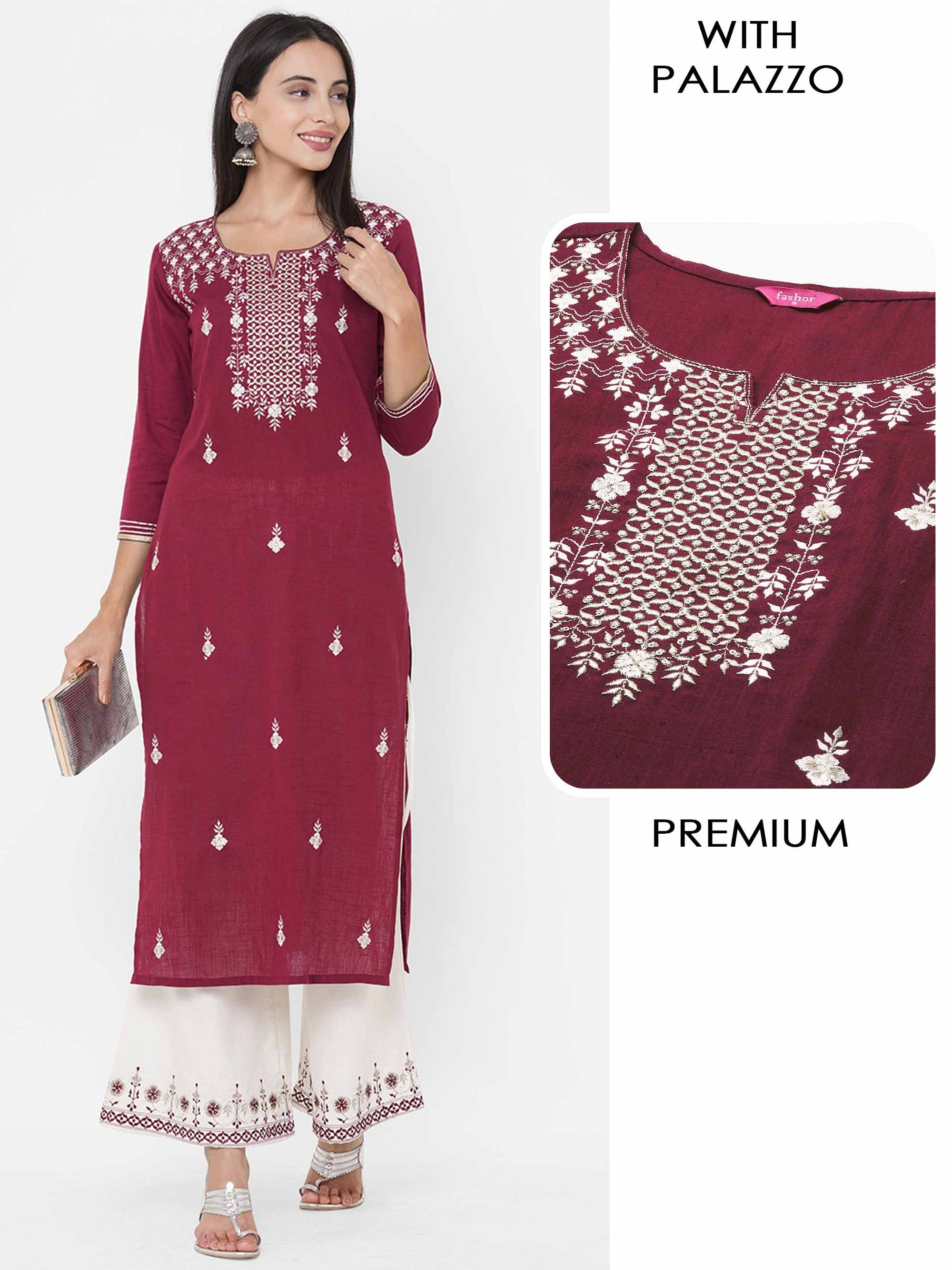 Floral Zari & Gota Embroidered Kurta with Floral Embroidered Palazzo - Maroon