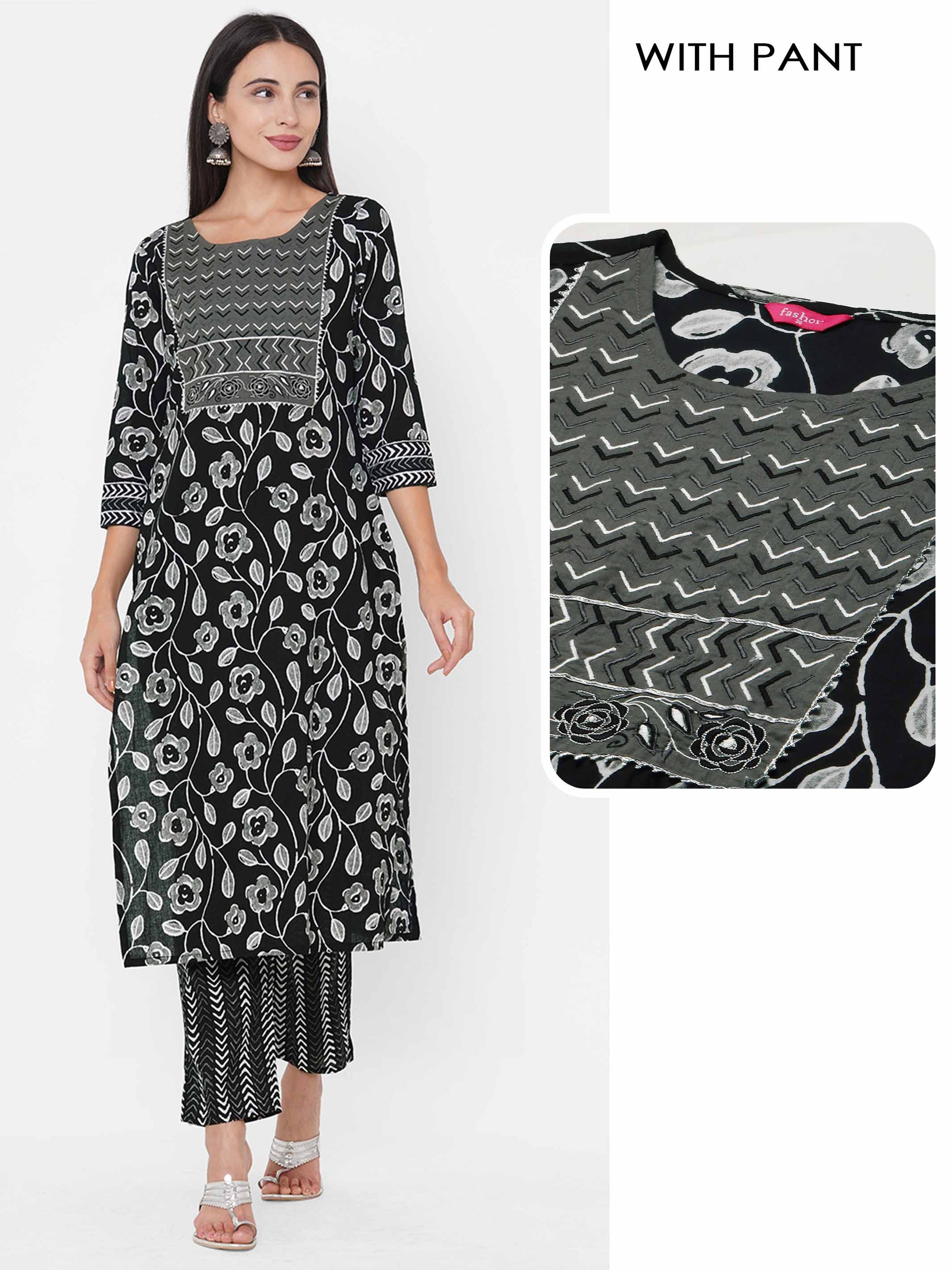 Floral Printed & Embroidered Kurta with Ethnic Printed Pant - Black