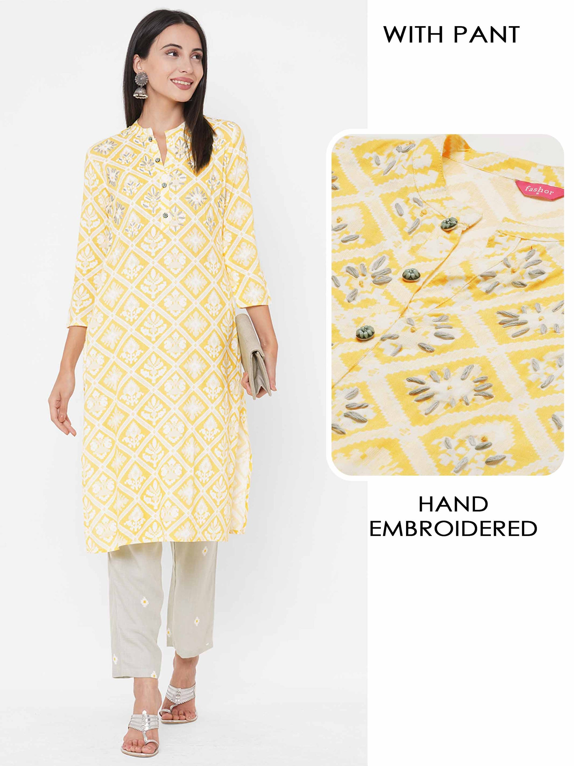 Patola Printed & Hand Embroidered Kurta with Minimal Printed Pant - Yellow