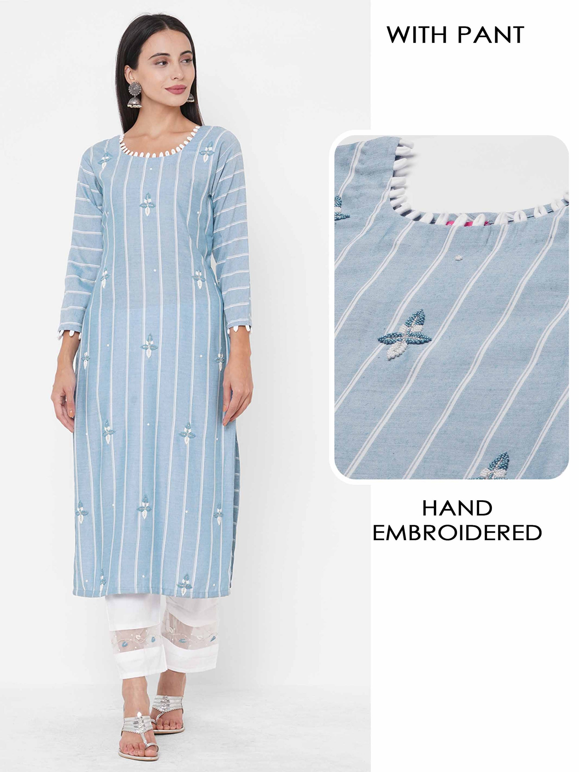 Striped & Floral Hand Embroidered Kurta with Hand Embroidered Pant - Powder Blue