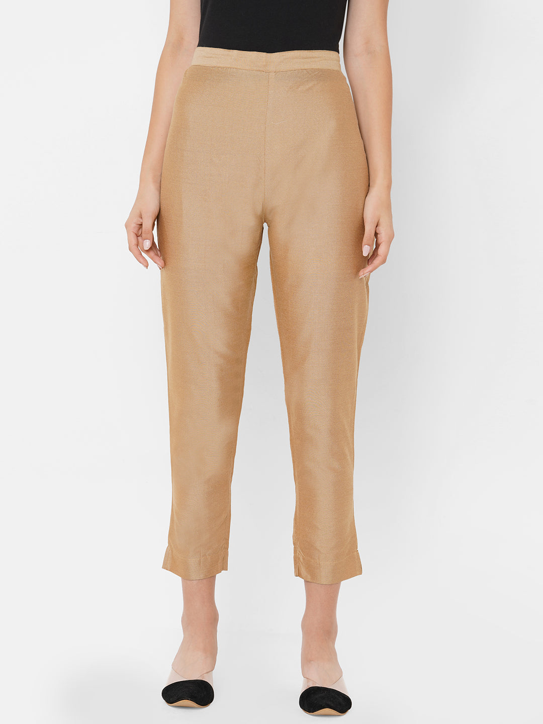 Elegant Shined & Solid Straight Pant - Beige