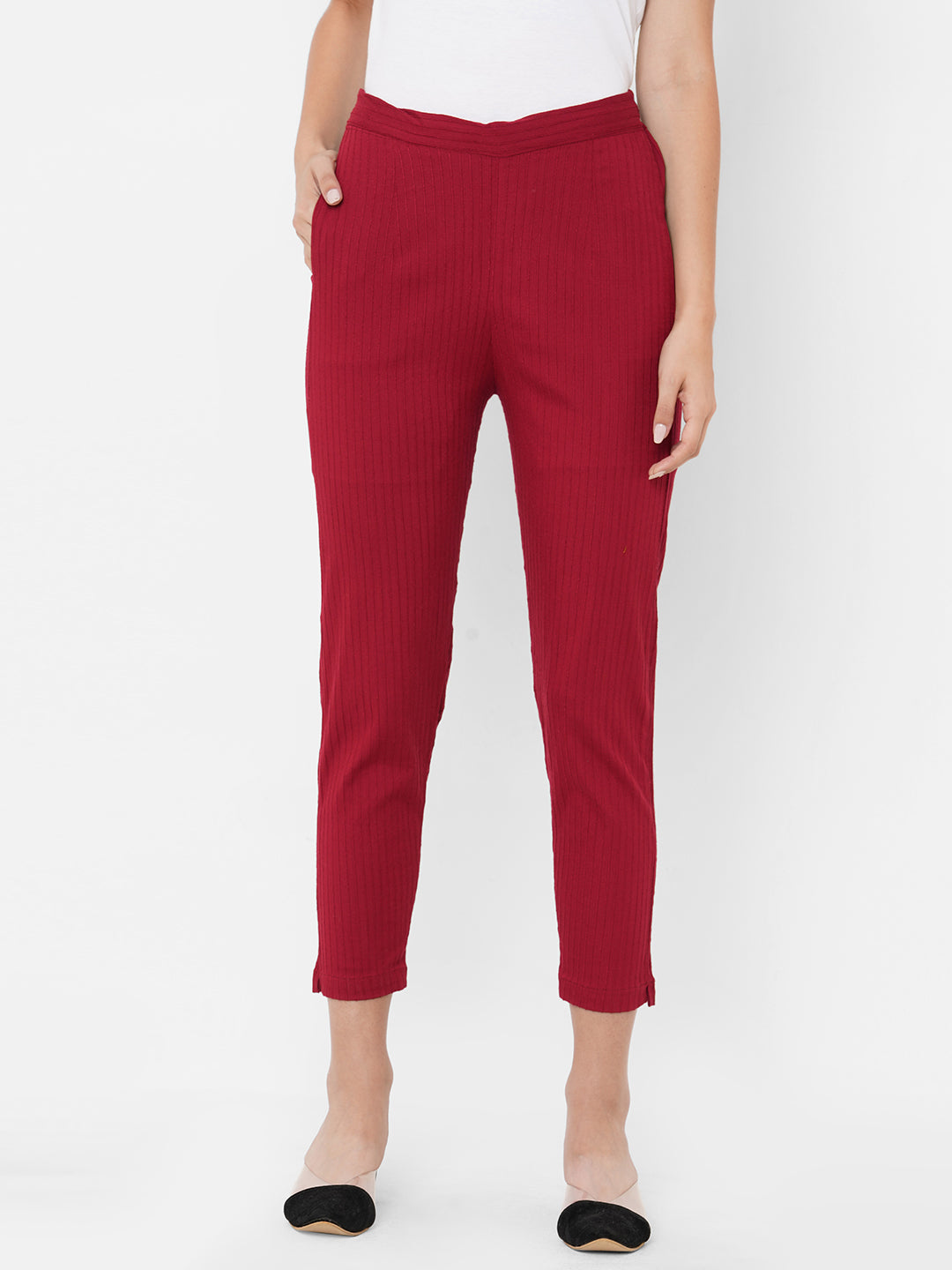 Woven Striped Solid Lycra Pant - Maroon
