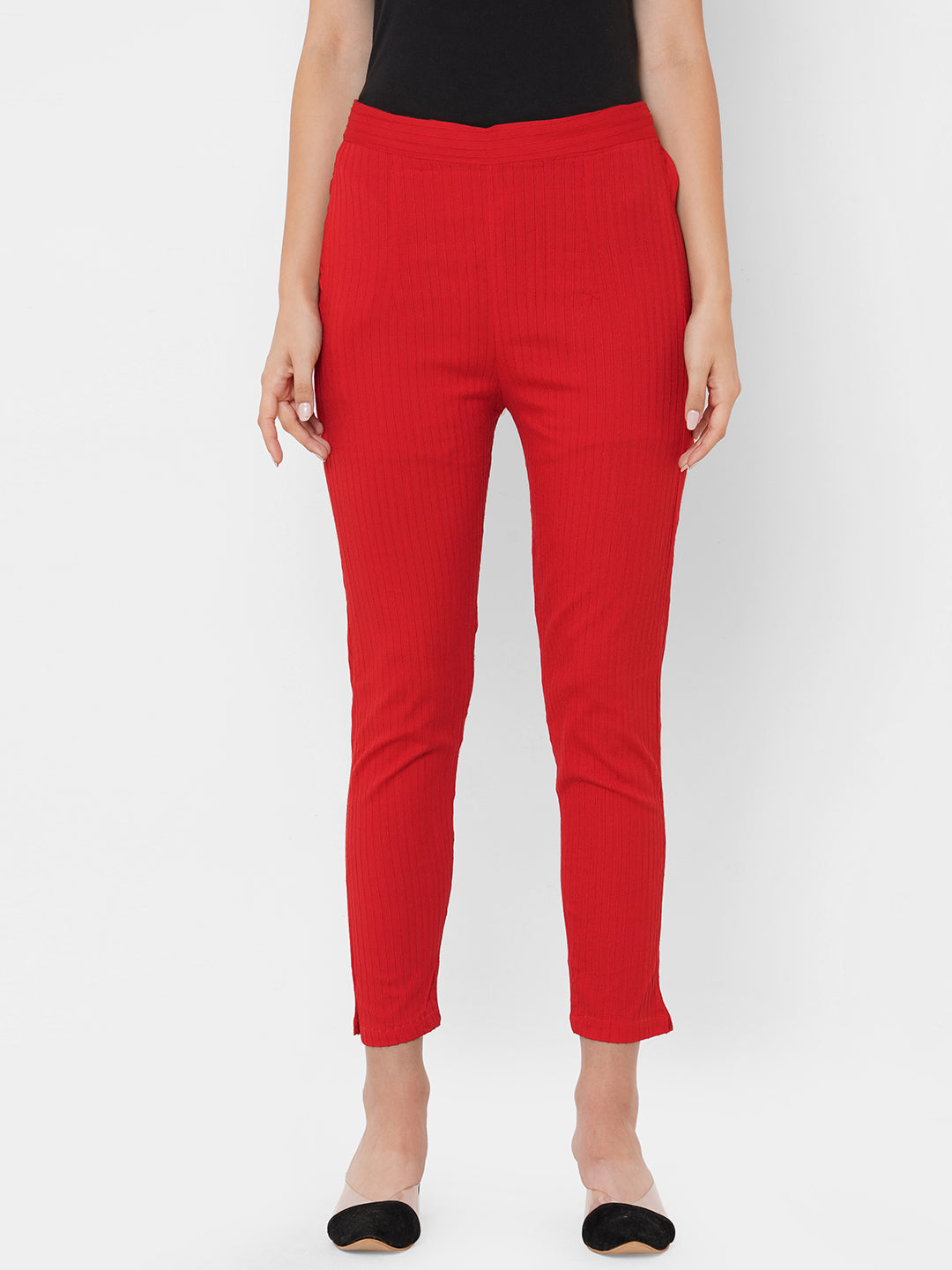 Woven Striped Solid Lycra Pant - Red