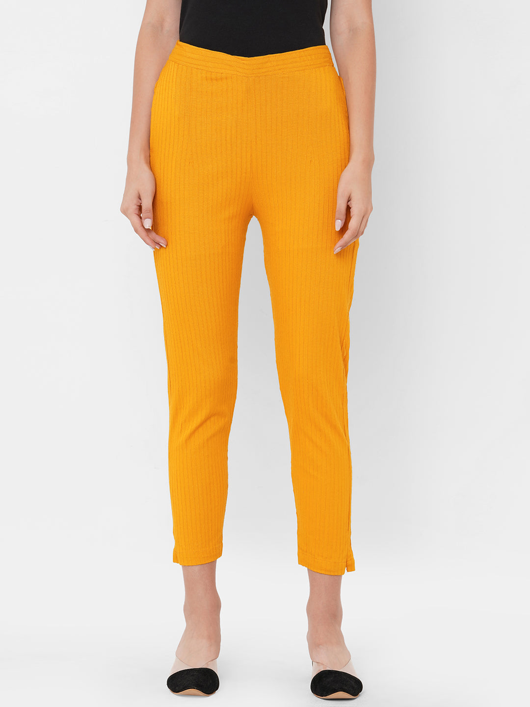 Woven Striped Solid Lycra Pant - Mustard