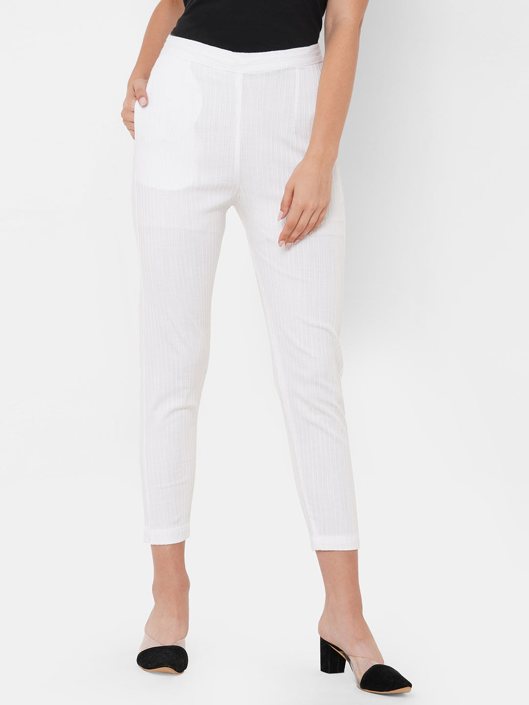 Woven Striped Solid Lycra Pant - White