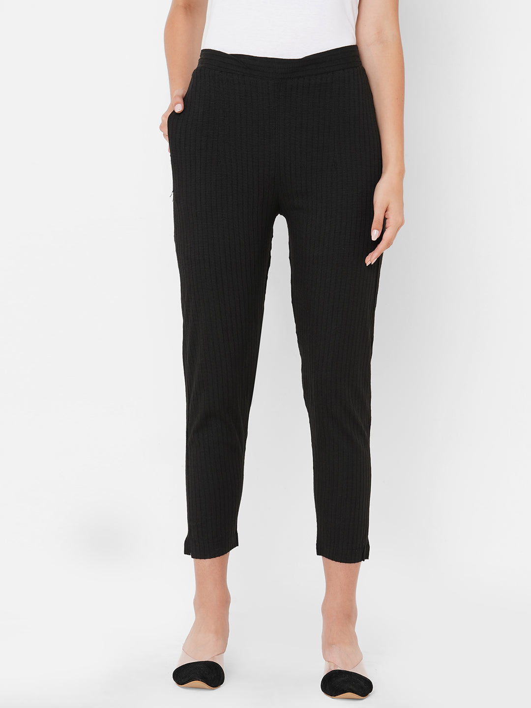 Woven Striped Solid Lycra Pant - Black