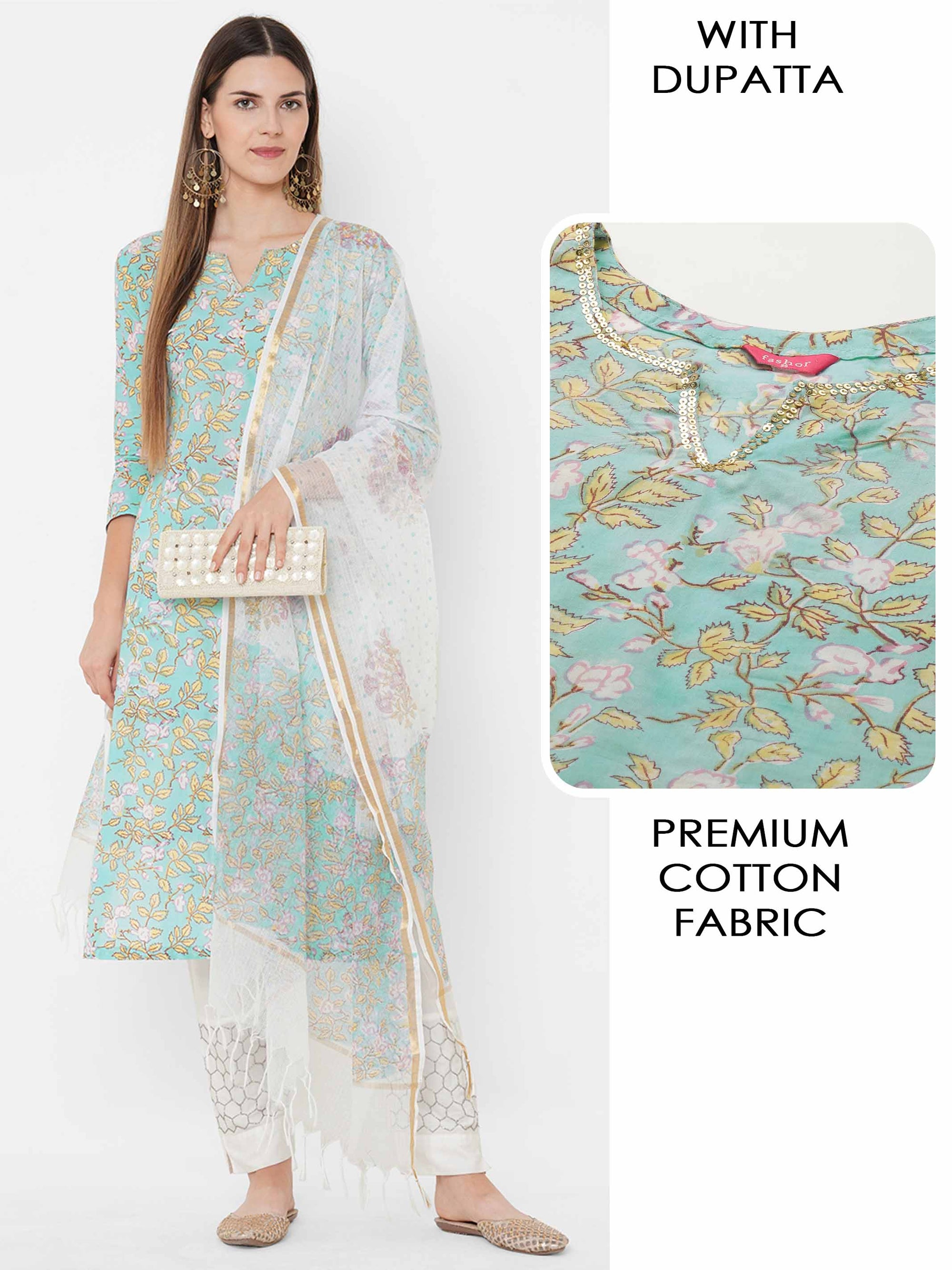 Floral Block Printed Straight Kurta with Floral Printed Dupatta - Sky Blue
