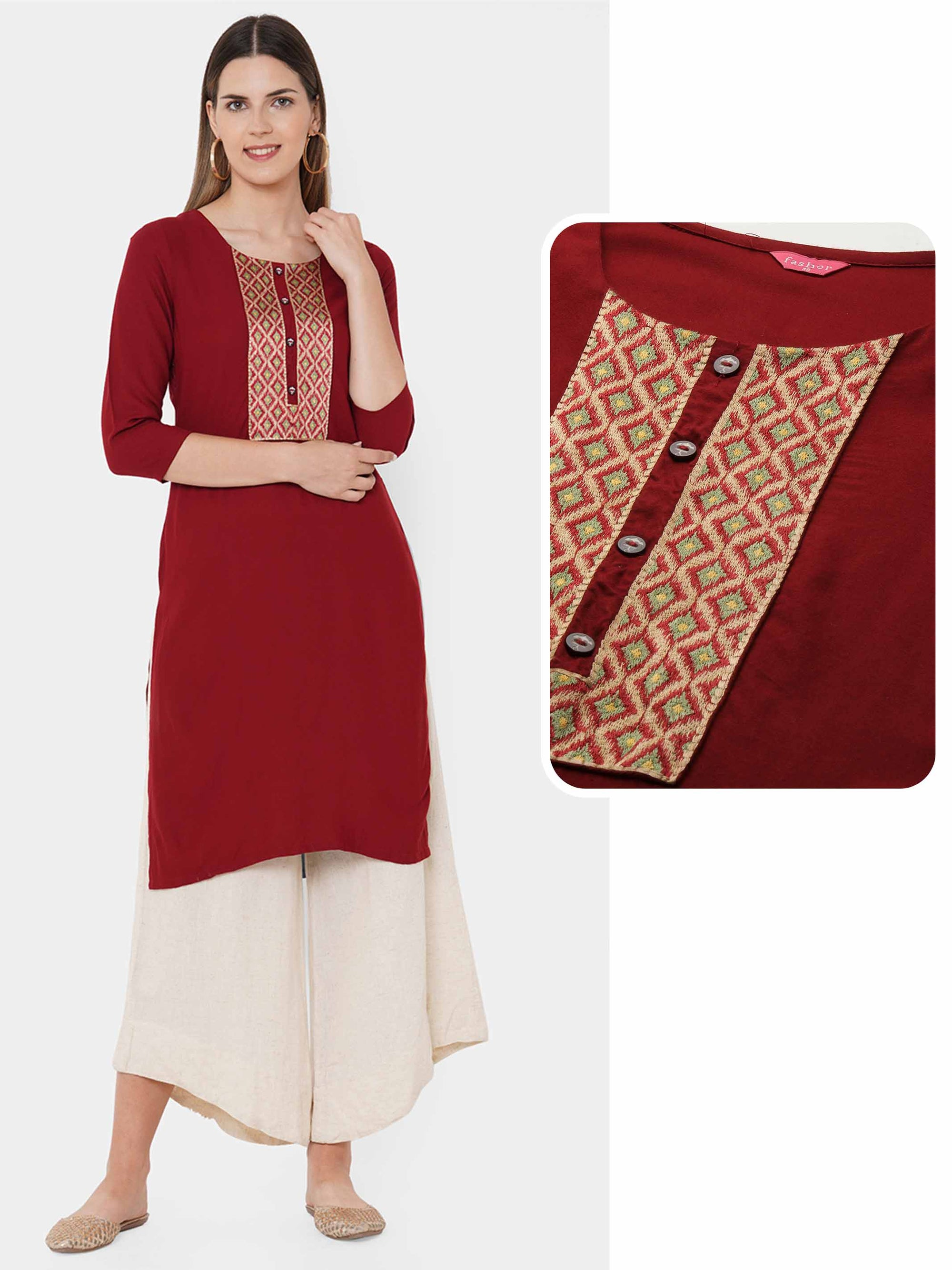 Colorful Embroidered Yoke Straight Kurta - Dark Maroon
