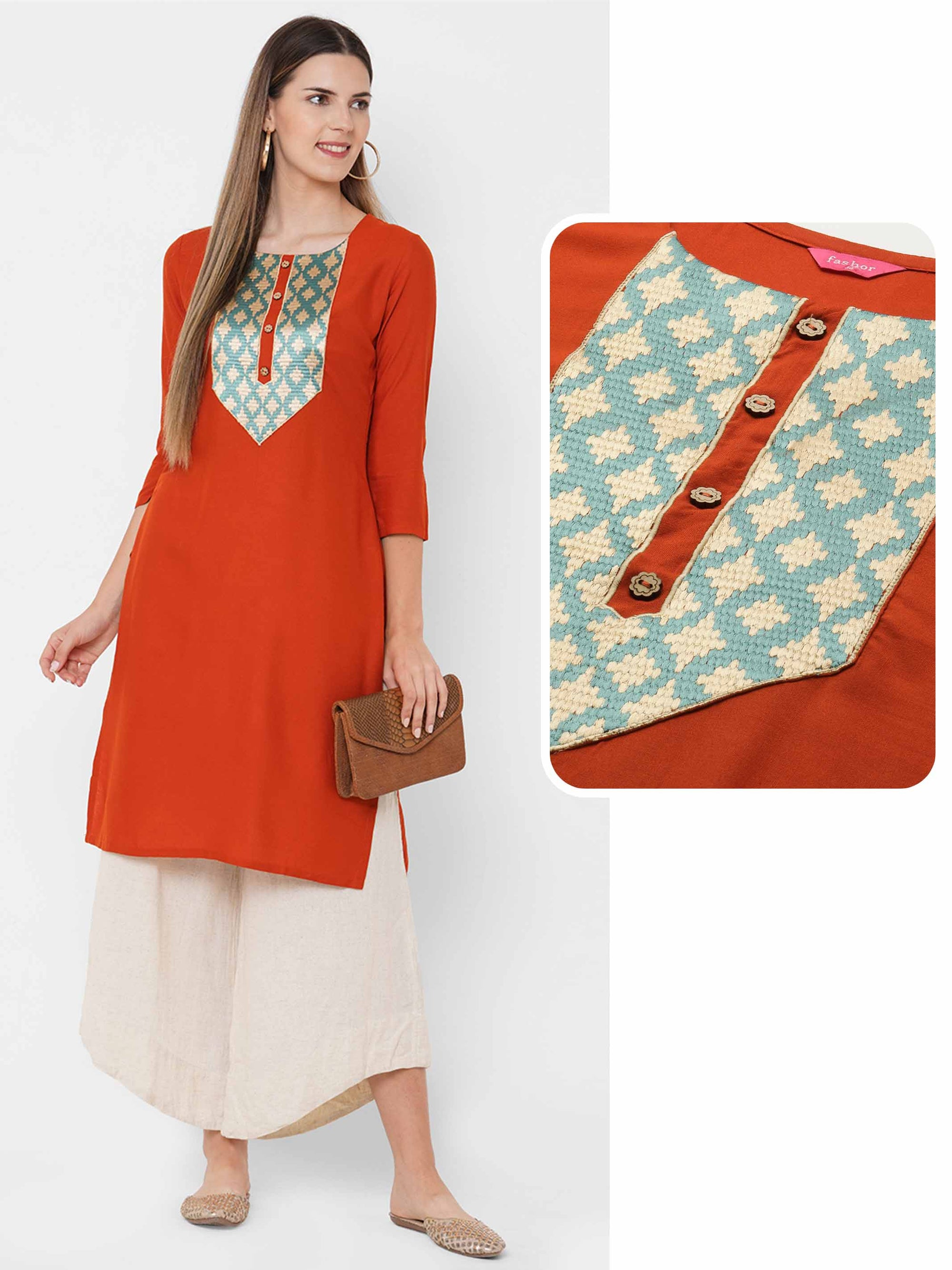 Colorful Embroidered Yoke Straight Kurta - Rust