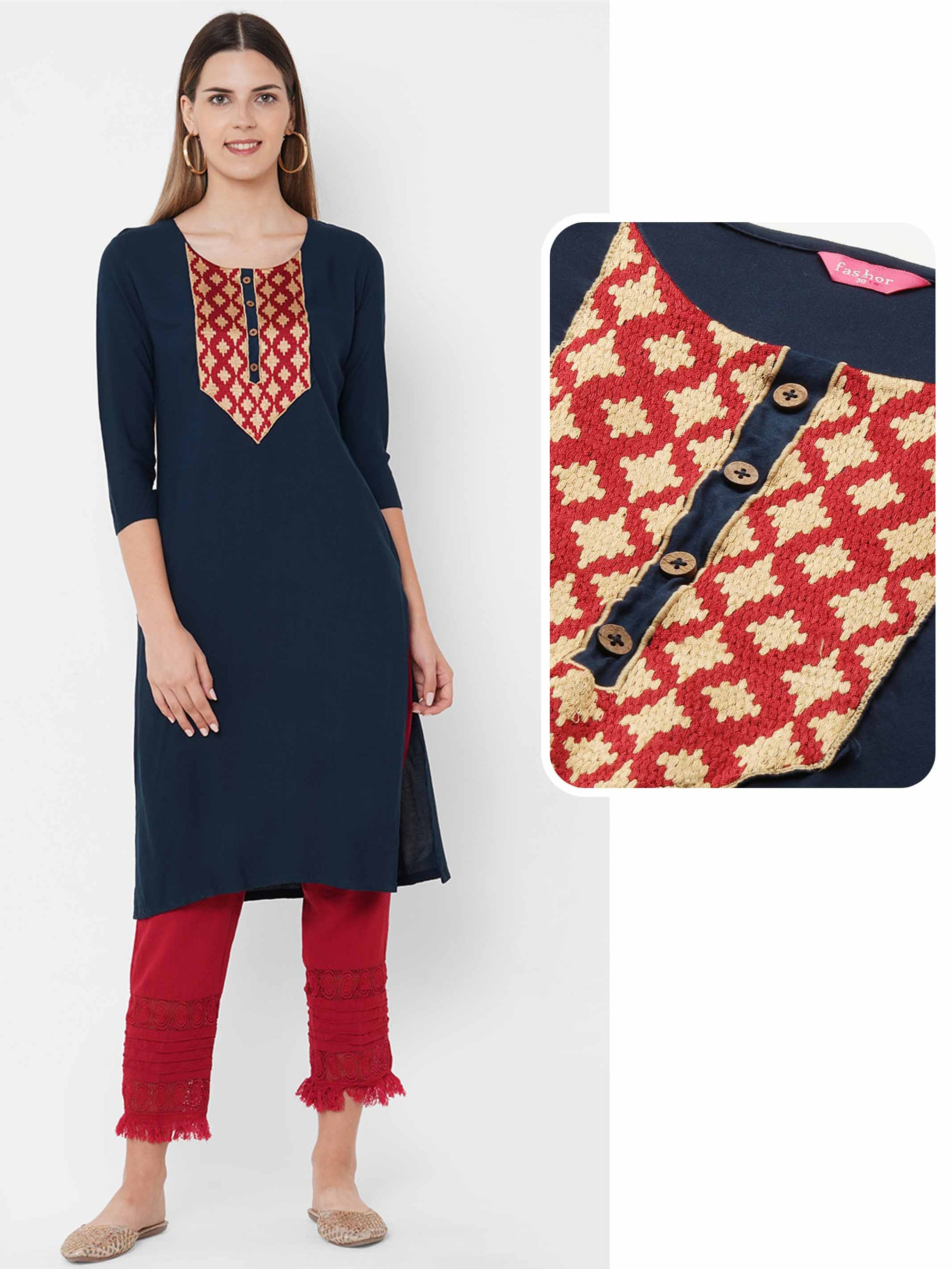 Colorful Embroidered Yoke Straight Kurta - Navy Blue