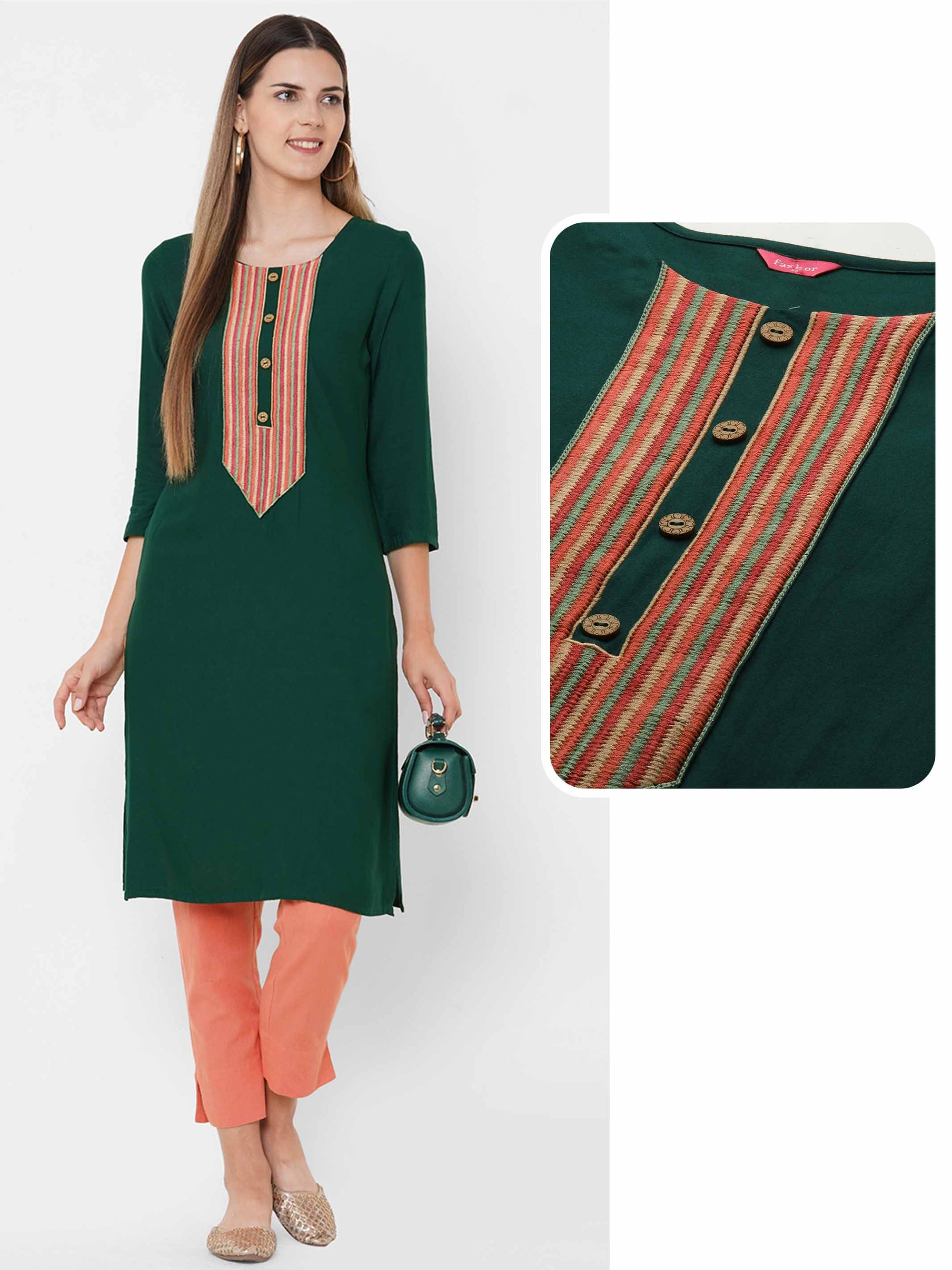 Colorful Embroidered Yoke Straight Kurta - Bottle Green