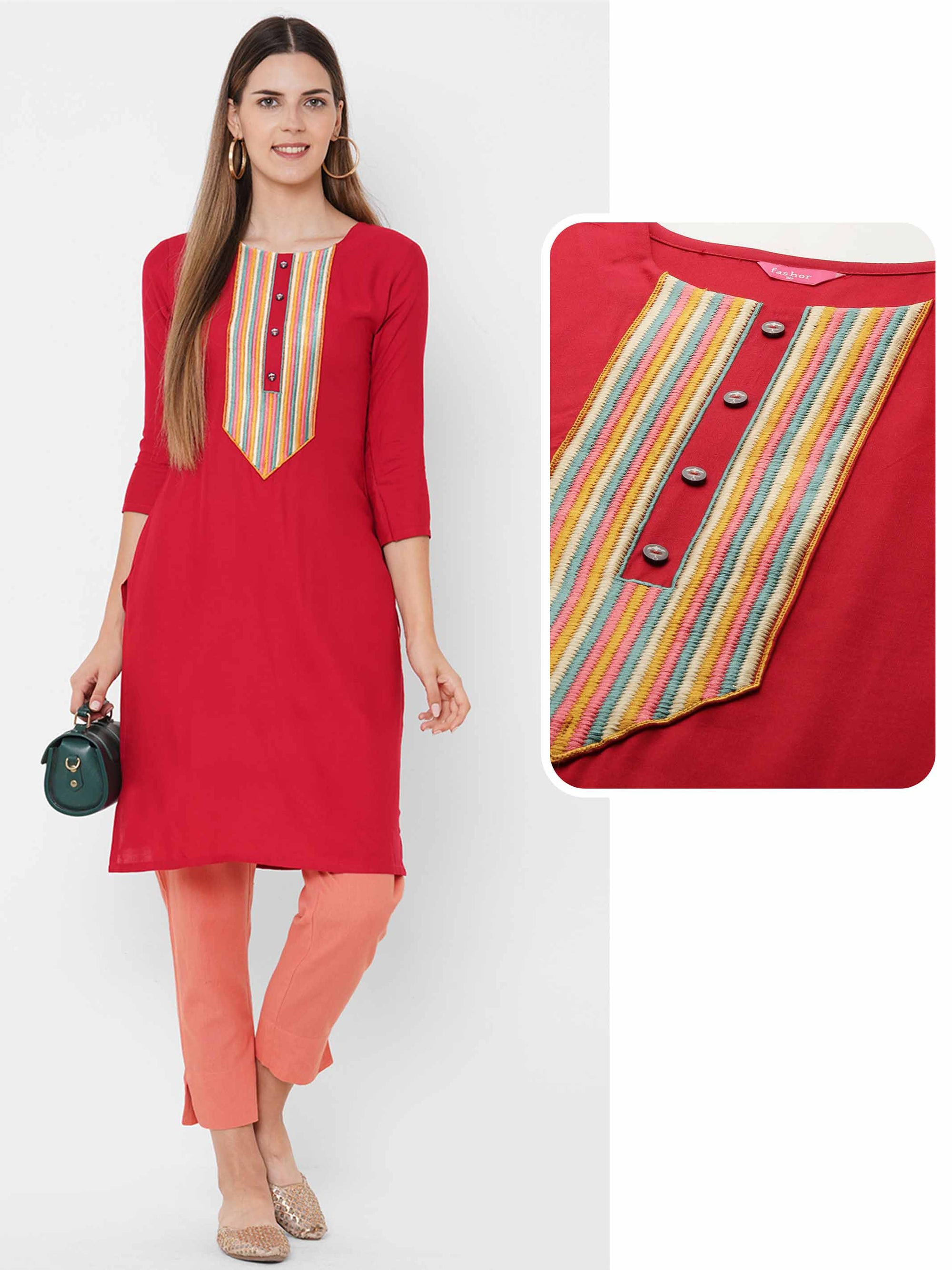 Colorful Embroidered Yoke Straight Kurta - Red