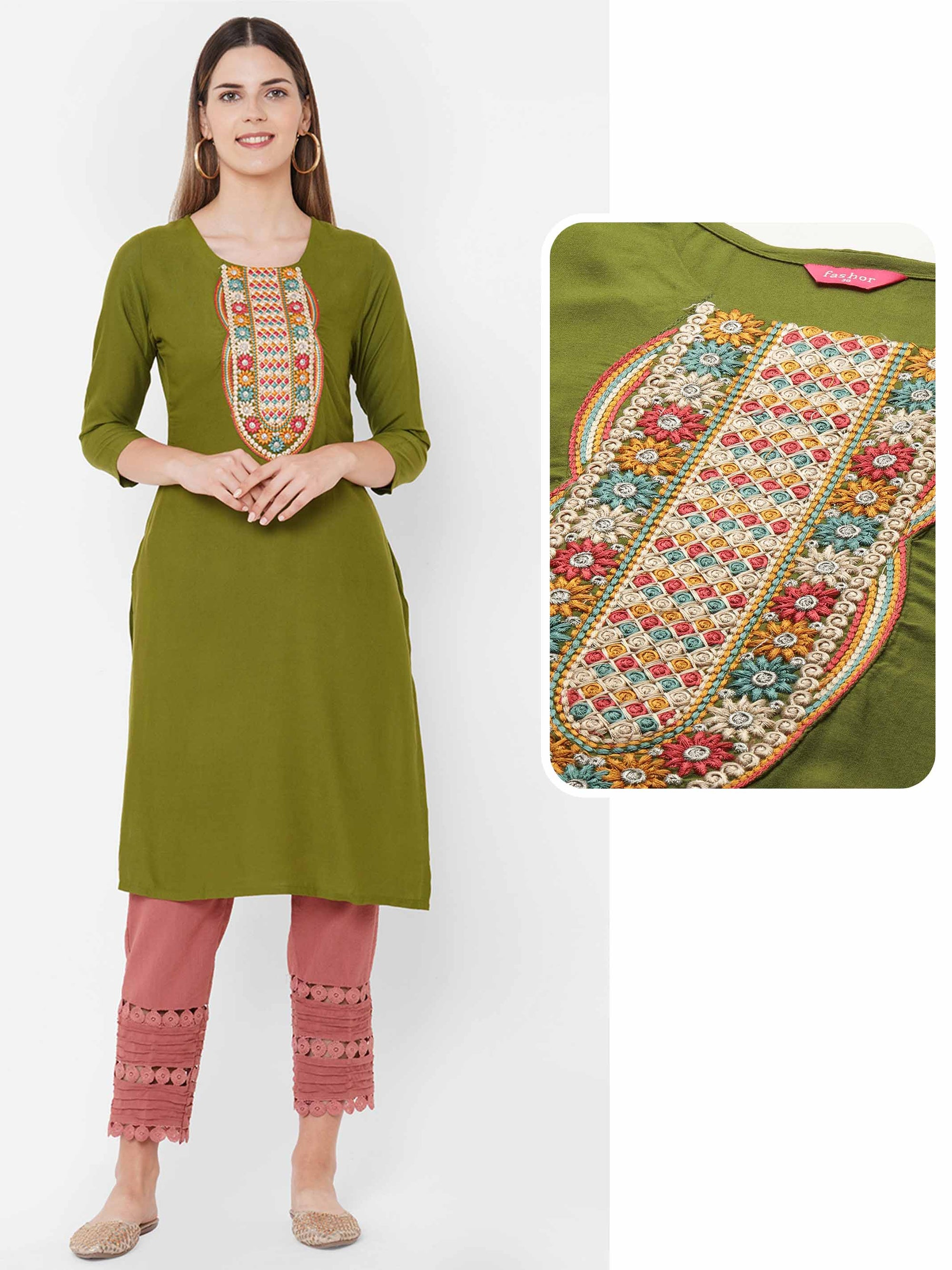 Colorful Floral Embroidered Yoke Straight Kurta - Mehandi Green