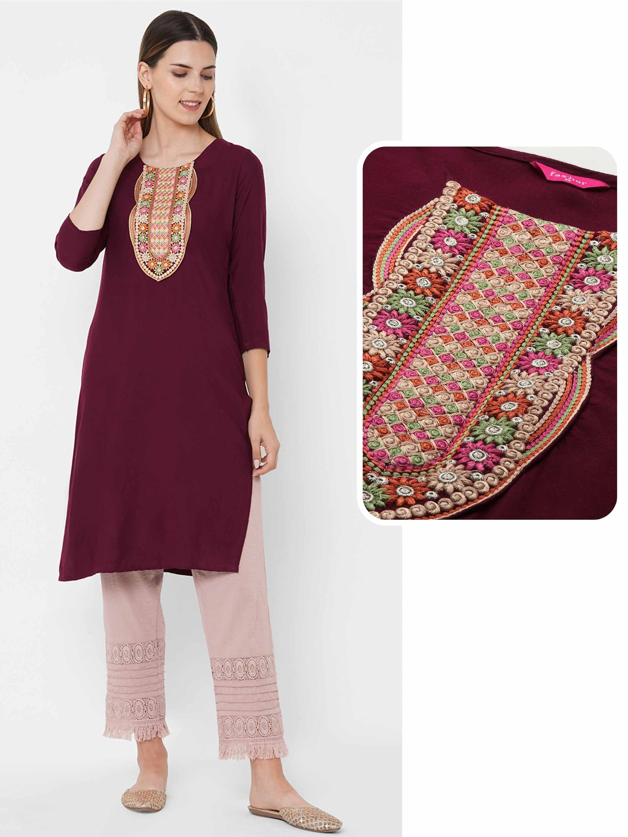 Colorful Floral Embroidered Yoke Straight Kurta - Tyrian purple