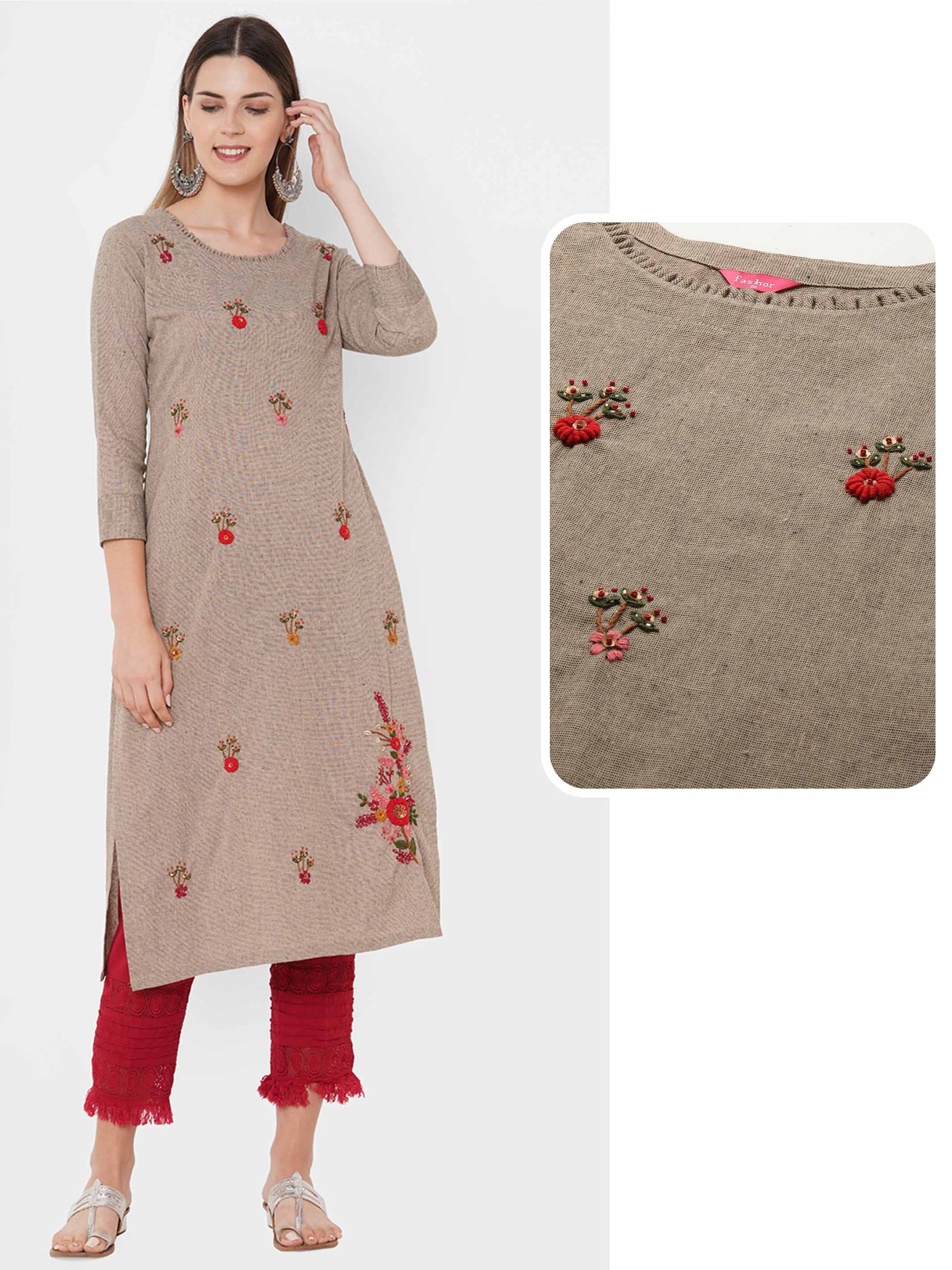 Floral Embroidered & Embellished Straight Kurta - Beige