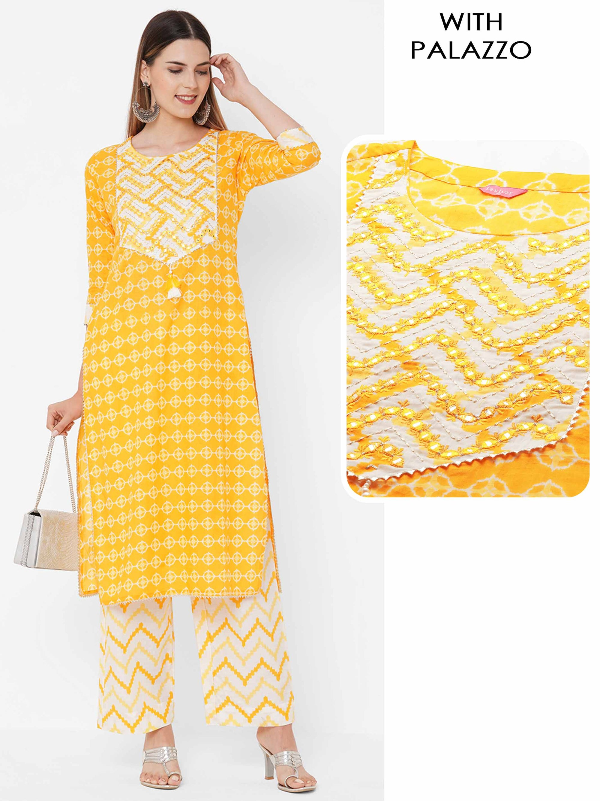Ikat Printed & Embroidered Kurta with Ikat Chevron Printed Palazzo - Yellow