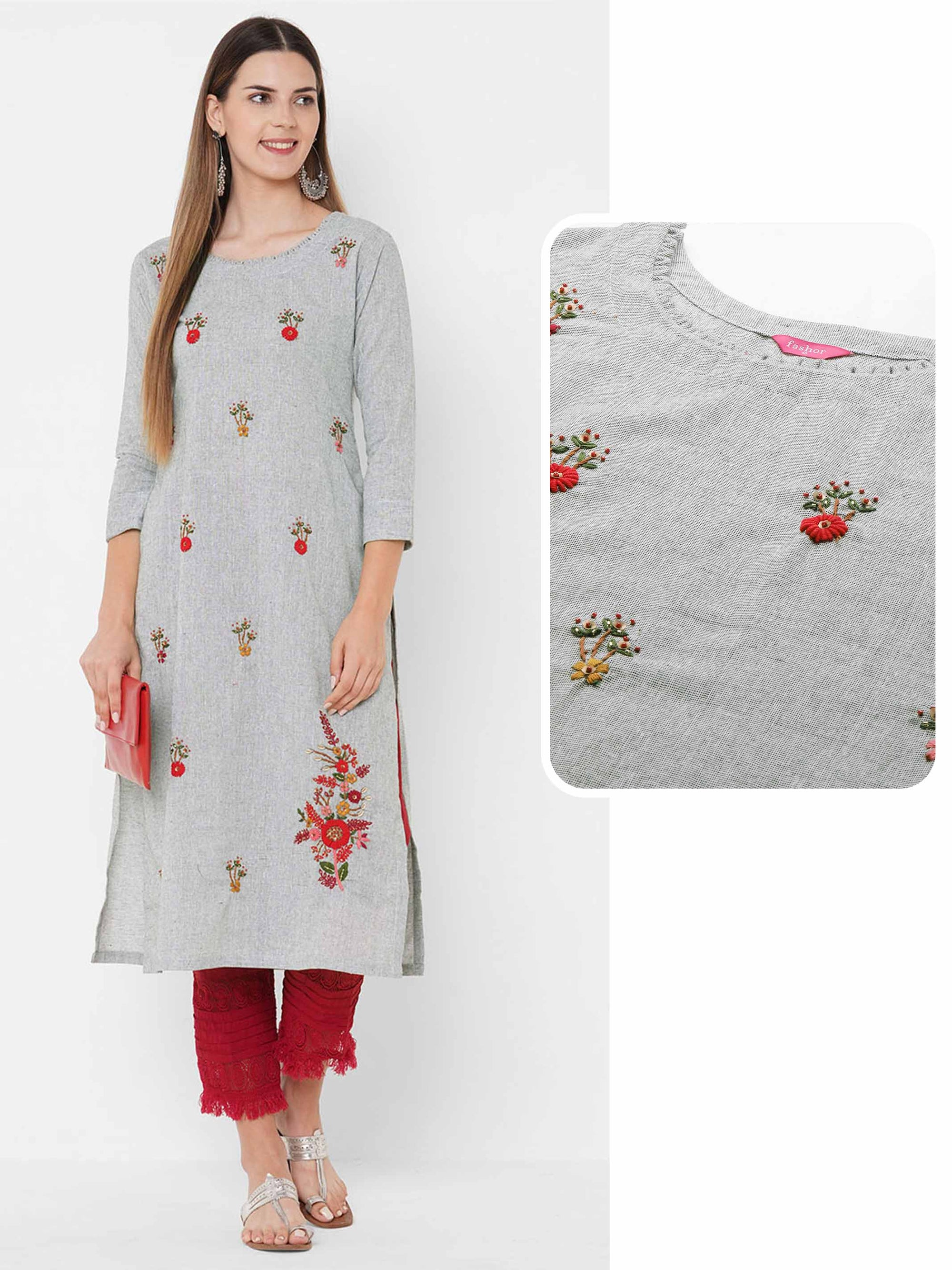 Floral Embroidered & Embellished Straight Kurta - Grey