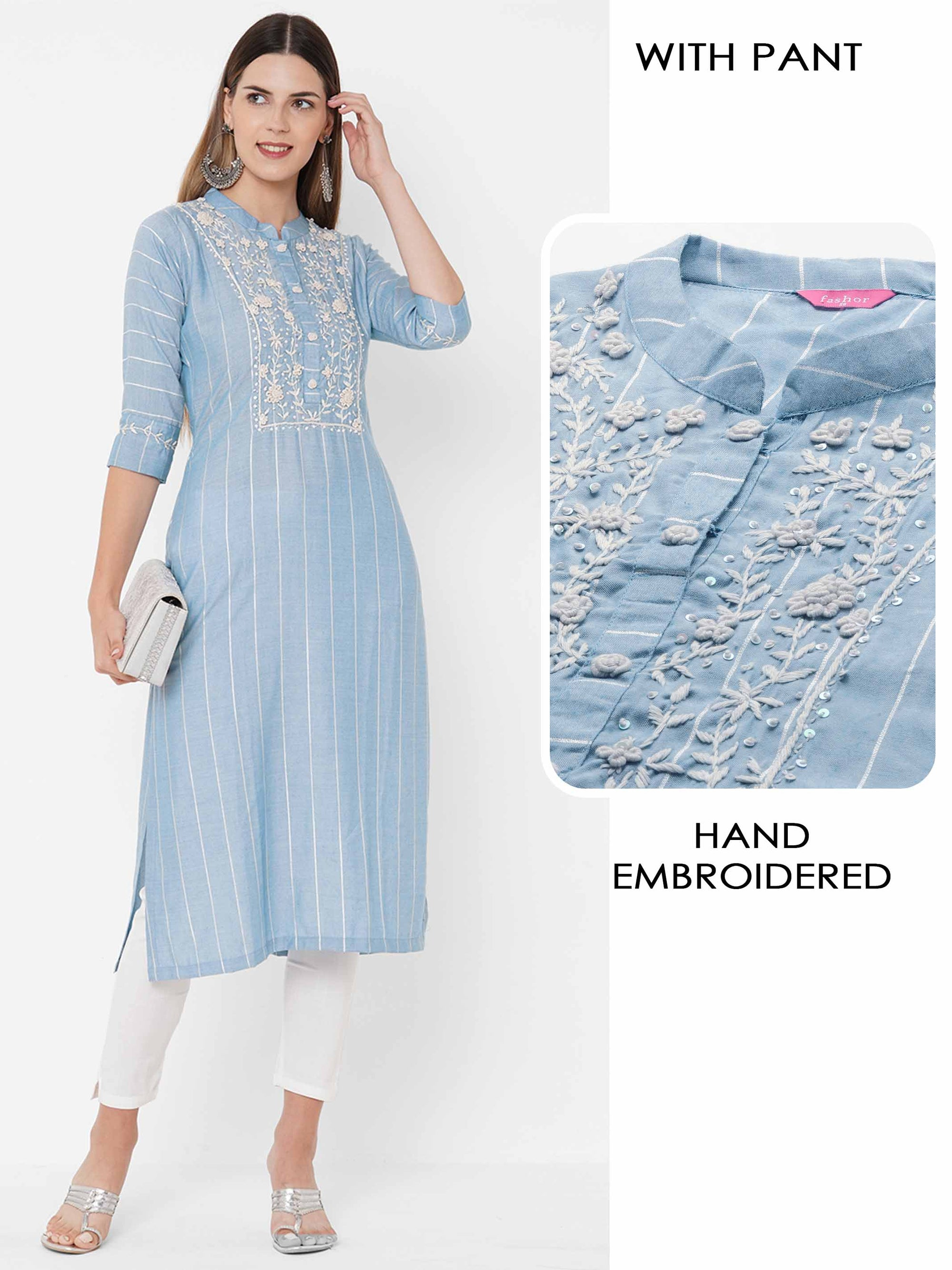 Floral Hand Embroidered & Woven Striped with Solid Stretchable Pant - Powder Blue