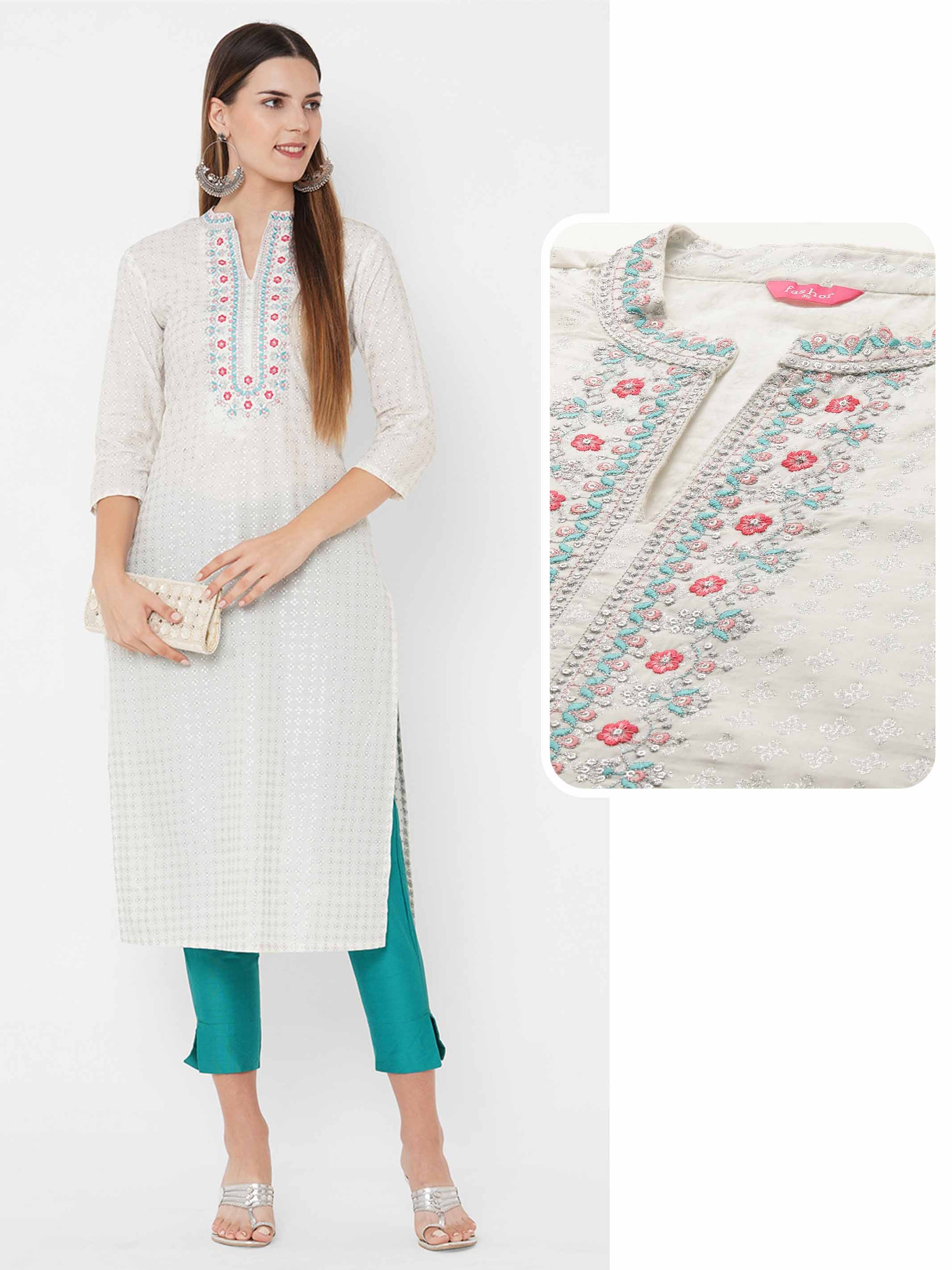 Floral Embroidered & Dense Floral Rogan Printed Kurta - White
