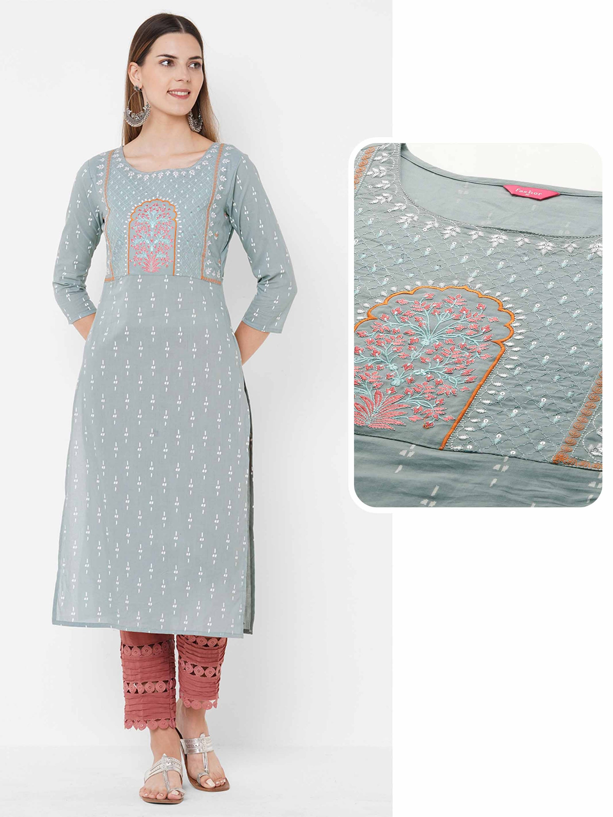 Ethnic Floral Embroidered & Printed Straight Kurta - Light Grey