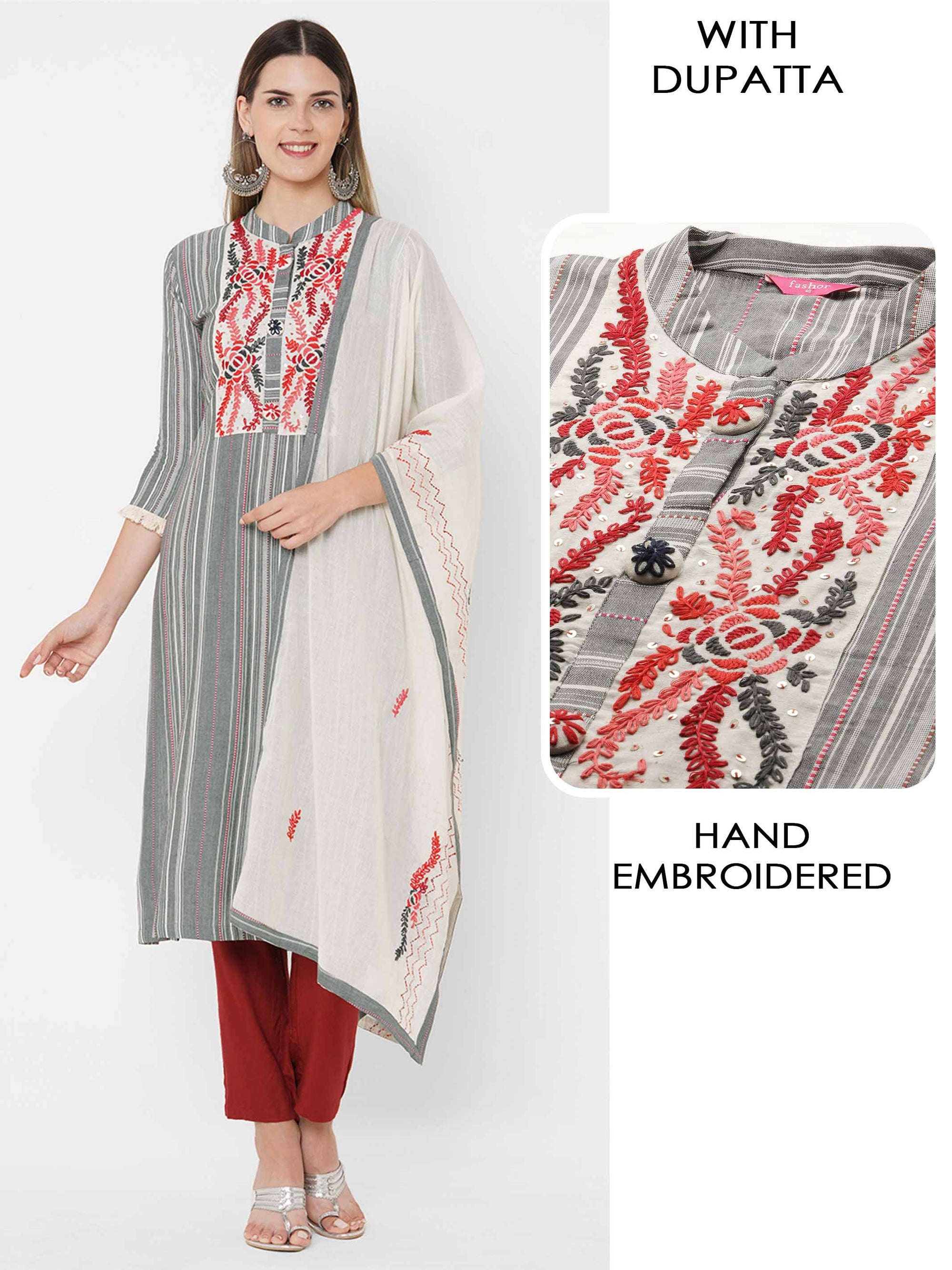 Woven Striped & Floral Hand Embroidered Kurta with Hand Embroidered Dupatta - Grey