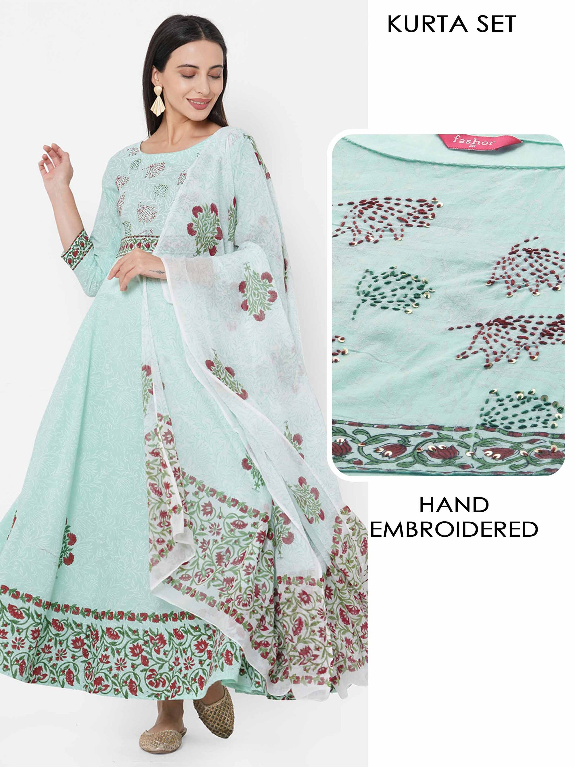 Floral Printed & Hand Embroidered Kurta with Solid Pant with Mix Printed Dupatta – Powder Green