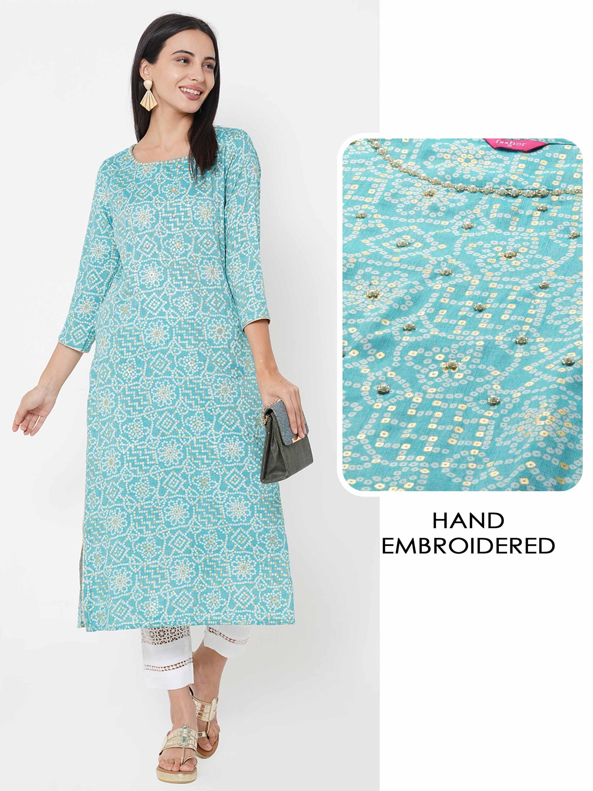 Bandhani Printed & Hand Embroidered straight Kurta – Dark Cyan