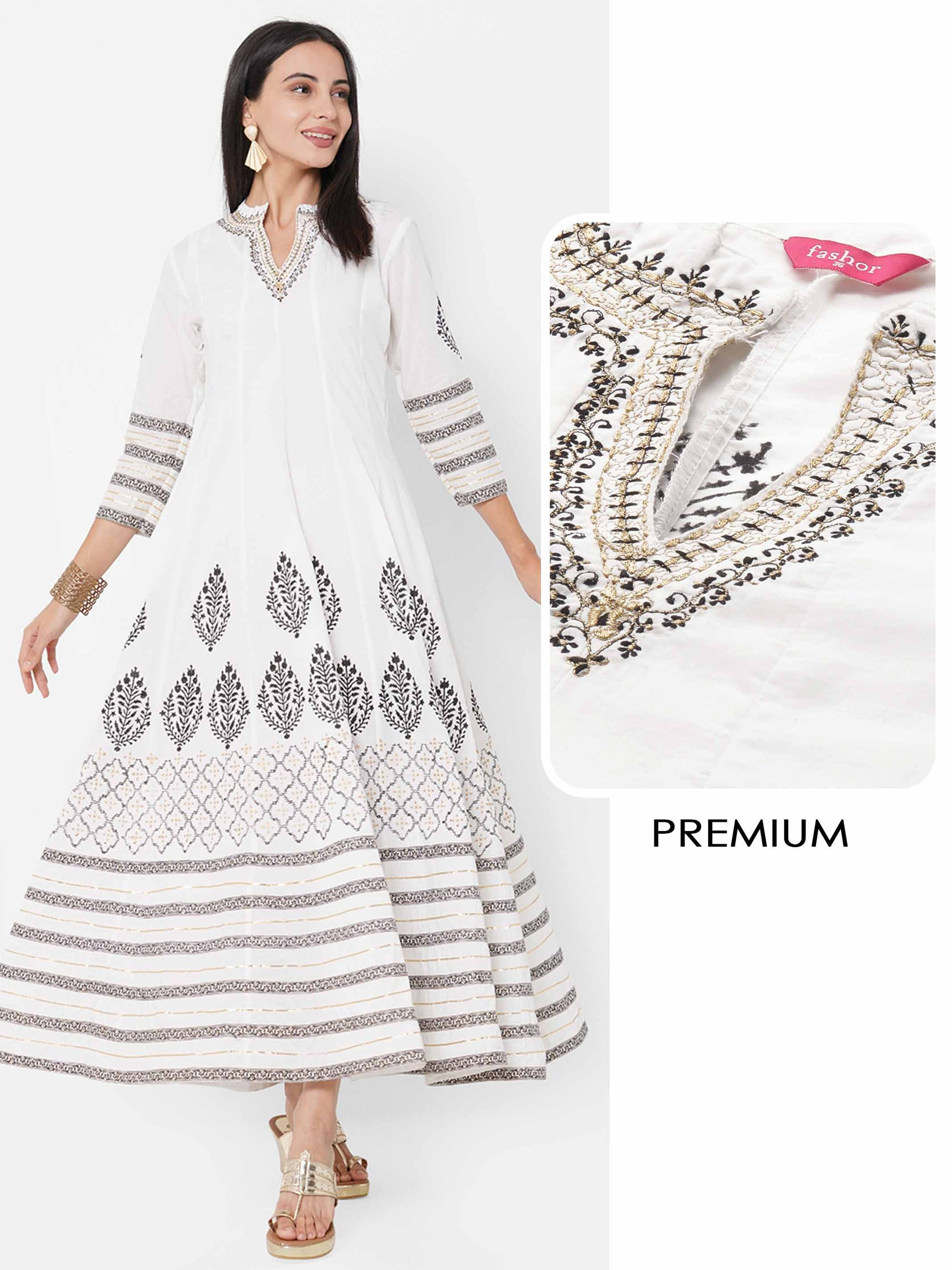 Ethnic Block Printed & Embroidered Maxi Dress - White