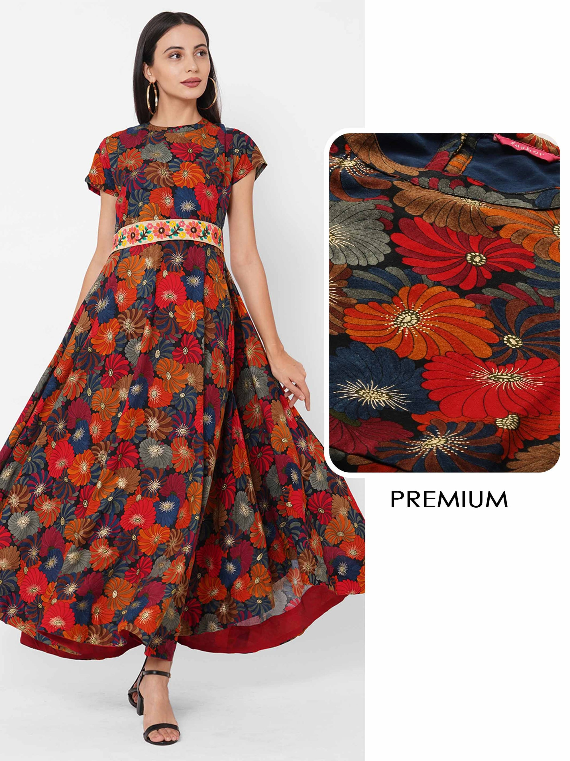Dense Floral Foil Printed A-Line Maxi Dress with Embroidered Fabric Belt - Multi