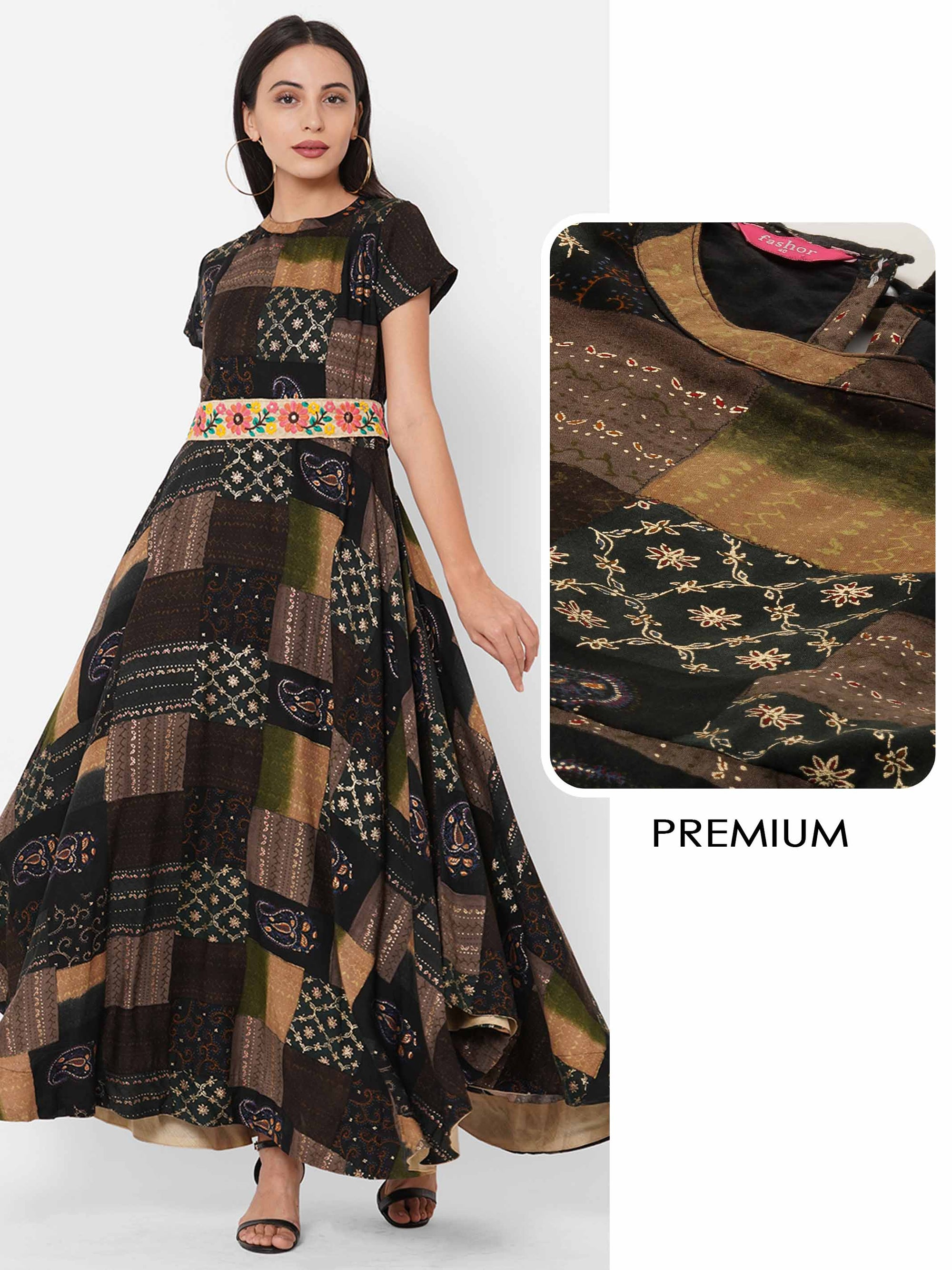 Mix Color Block Foil Printed A-Line Maxi Dress with Embroidered Fabric Belt - Multi