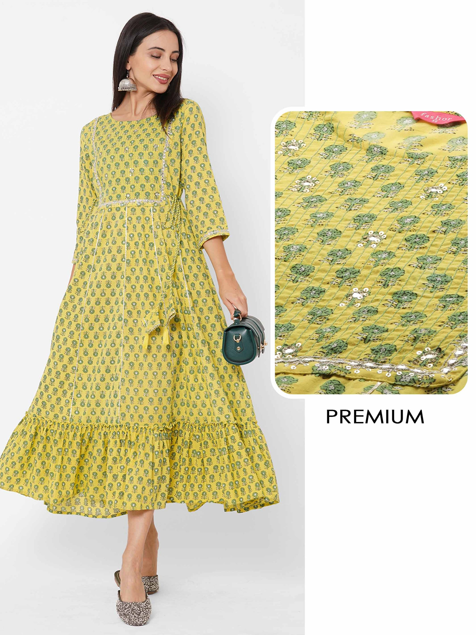 Floral Block Printed & Embroidered Maxi Dress – Yellow