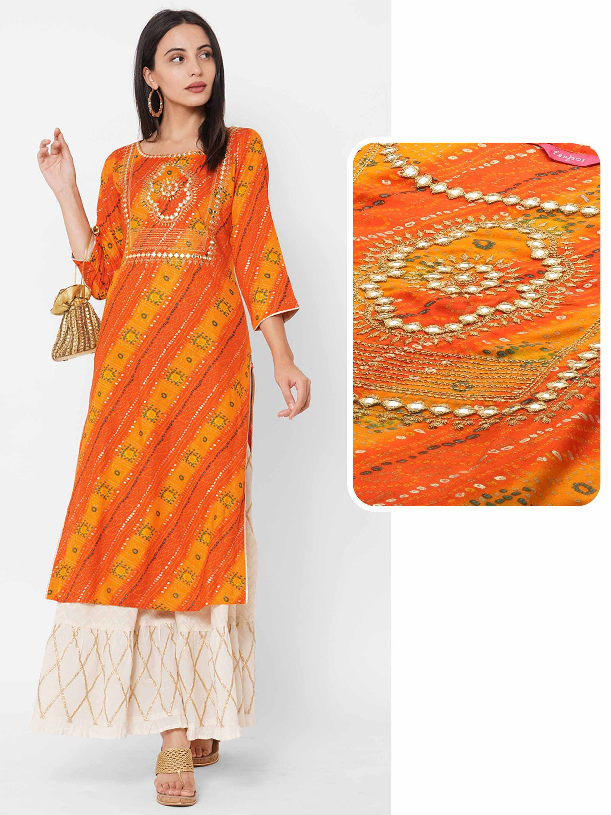 Bandhani & Lehariya Printed & Zari Embroidered Straight Kurta - Orange