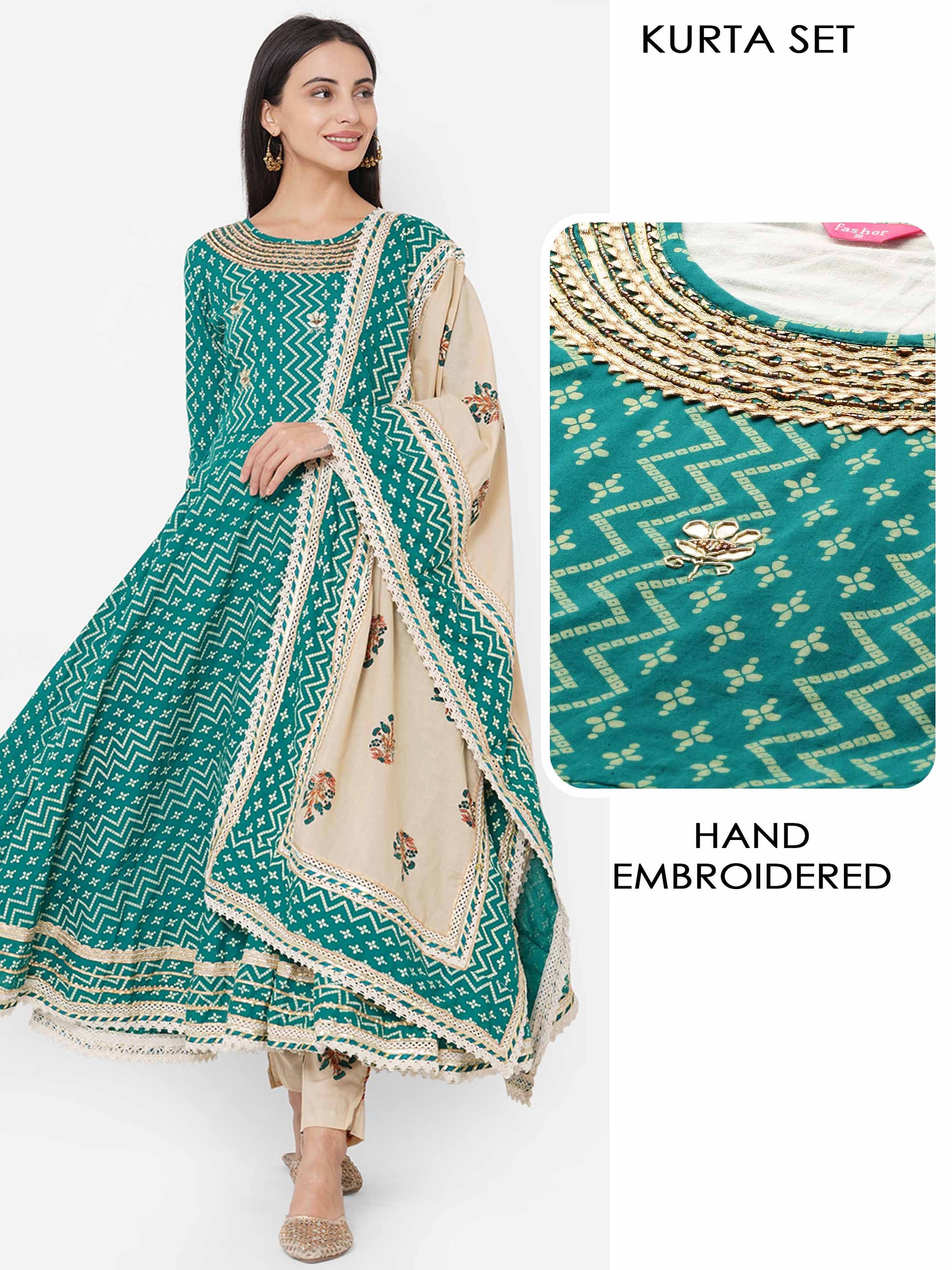 Bandhani Printed & Hand Embroidered Kurta with Bagru Block Printed Pant & Dupatta - Green