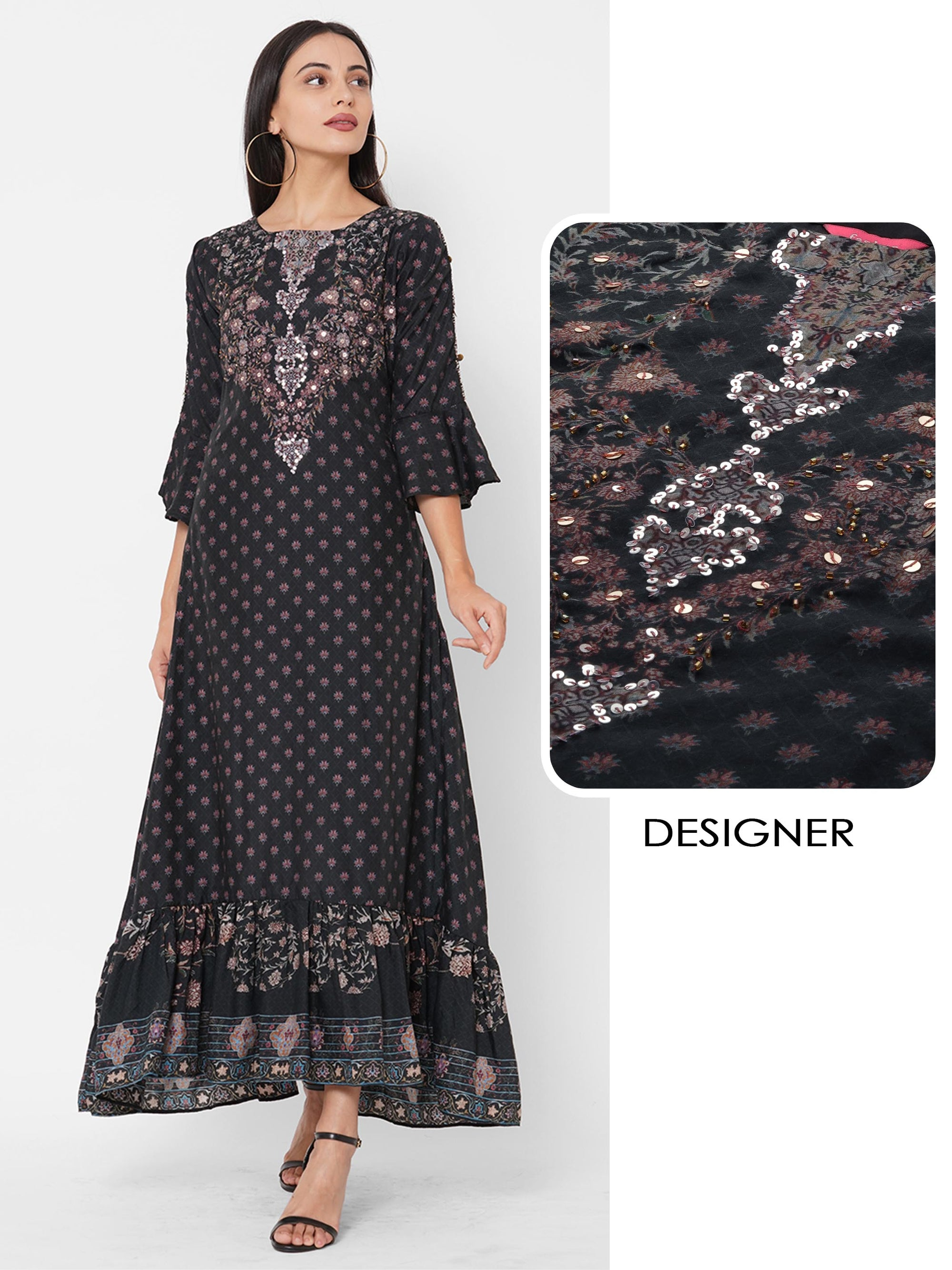 Floral Mix Printed & Embroidered Maxi Dress – Black