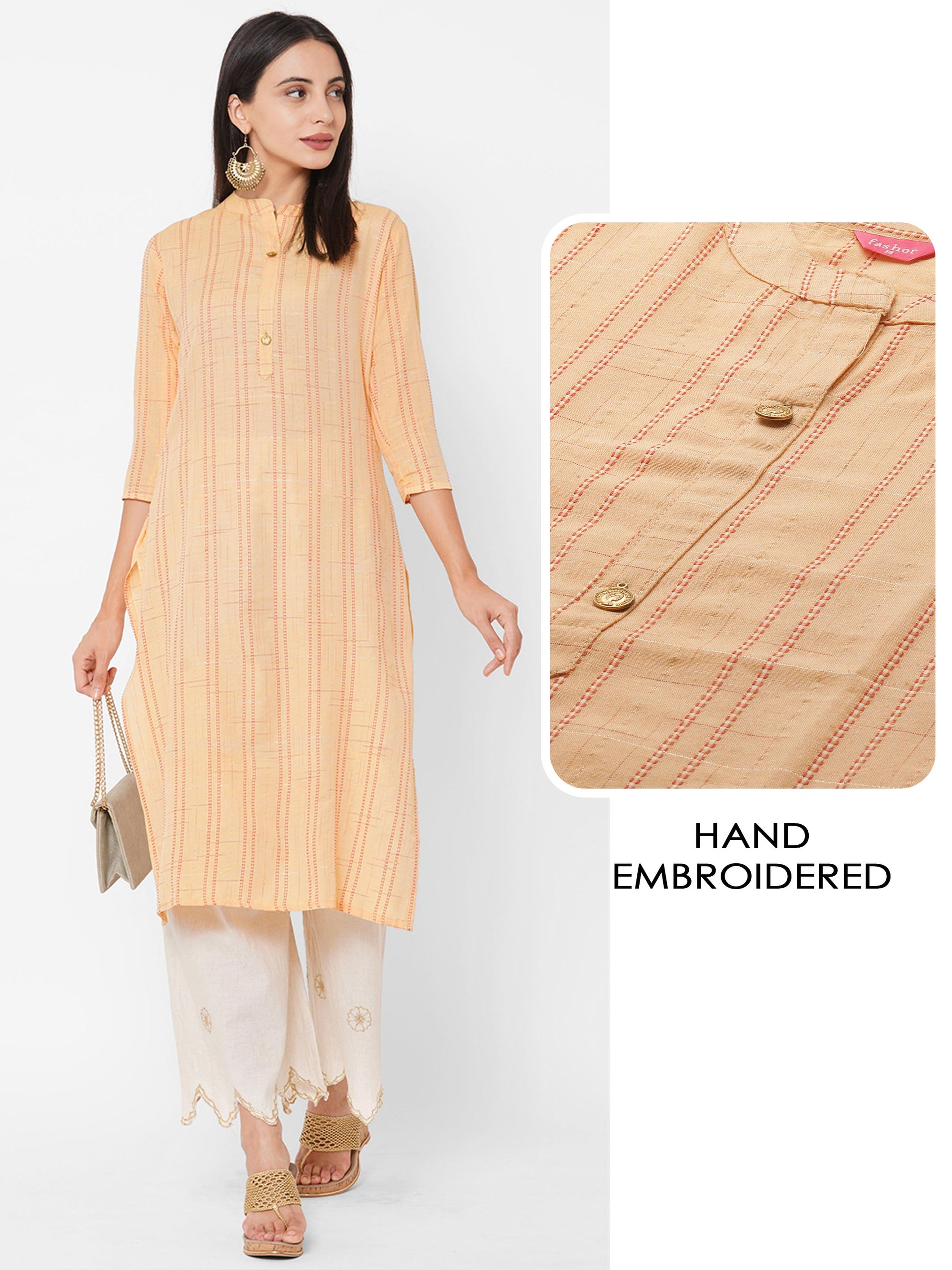 Kantha Hand Embroidered & Lurex Woven Straight Kurta– Sisal Yellow